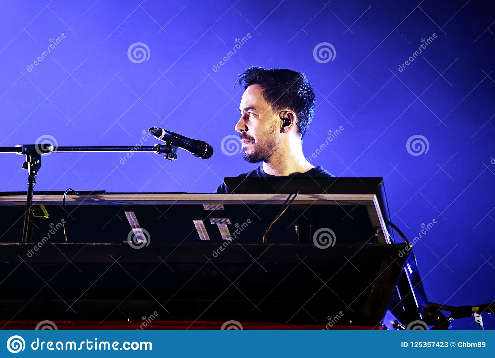 Linkin Park music band perform in concert at Download heavy metal music festival