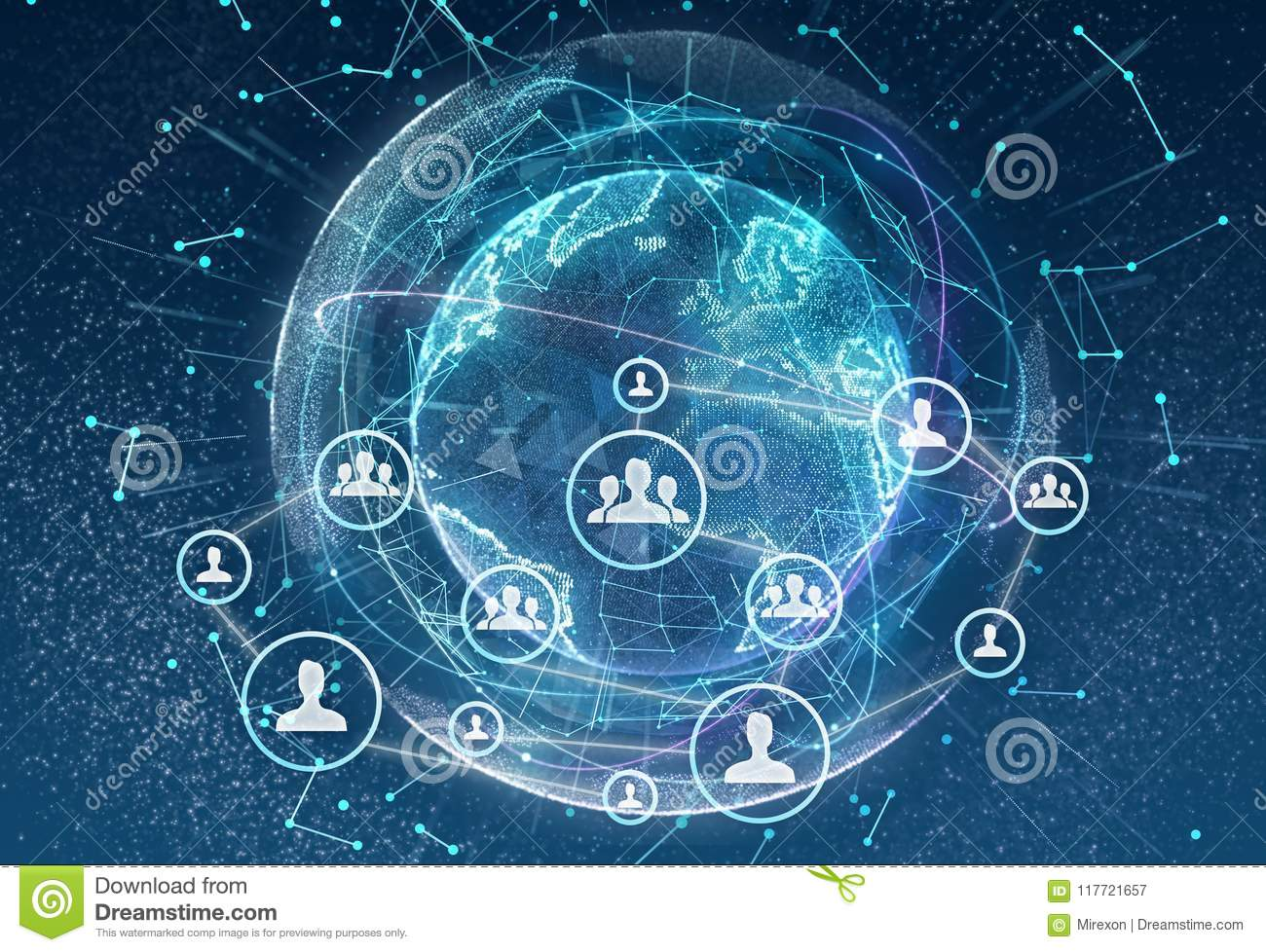 networking, social media, communication on earth background  small network  connected