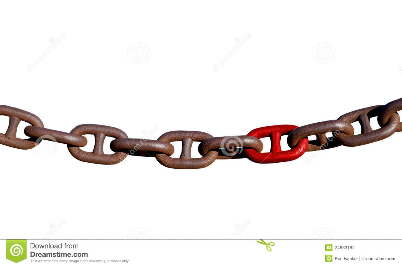 Links of a heavy rusted chain isolated.