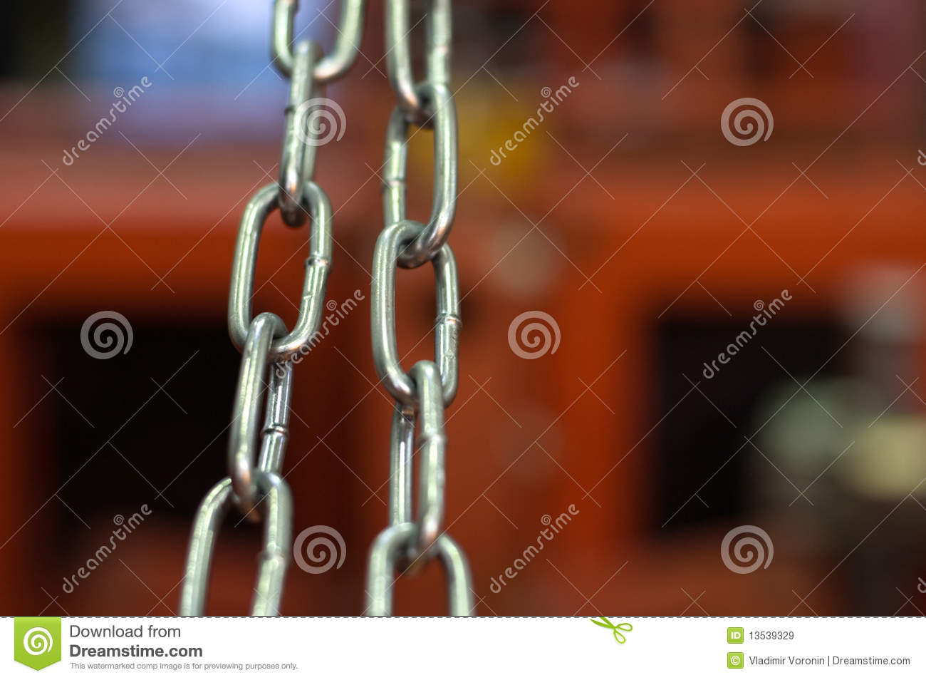 Links of a metal chain close up