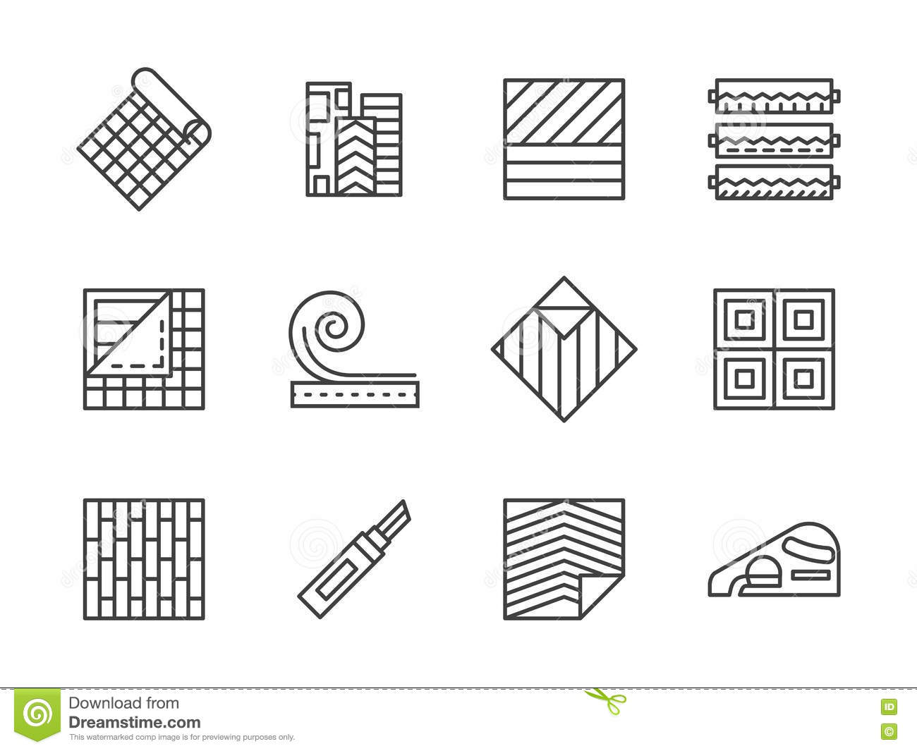 Building materials icons set simple style cartoon vector for Minimalist house materials