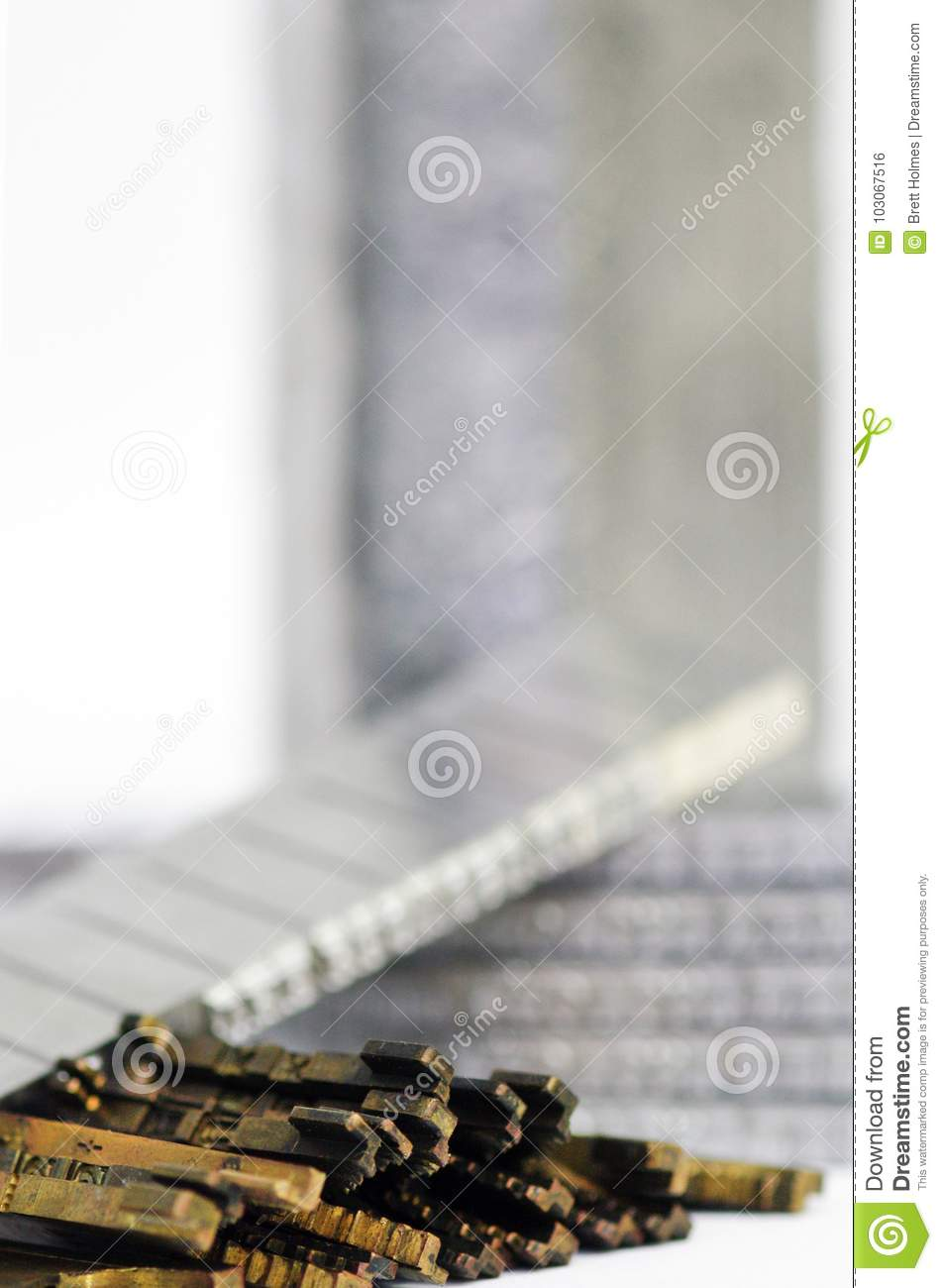 Linotype Lead Slugs And Matrices Closeup Stock Photo - Image