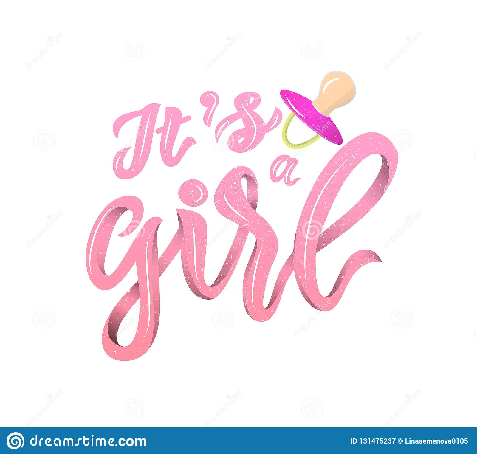 LInscription of phrase Its a girl with pink nipple soother.Pink color Lettering for babies clothes and nursery decorations bags,