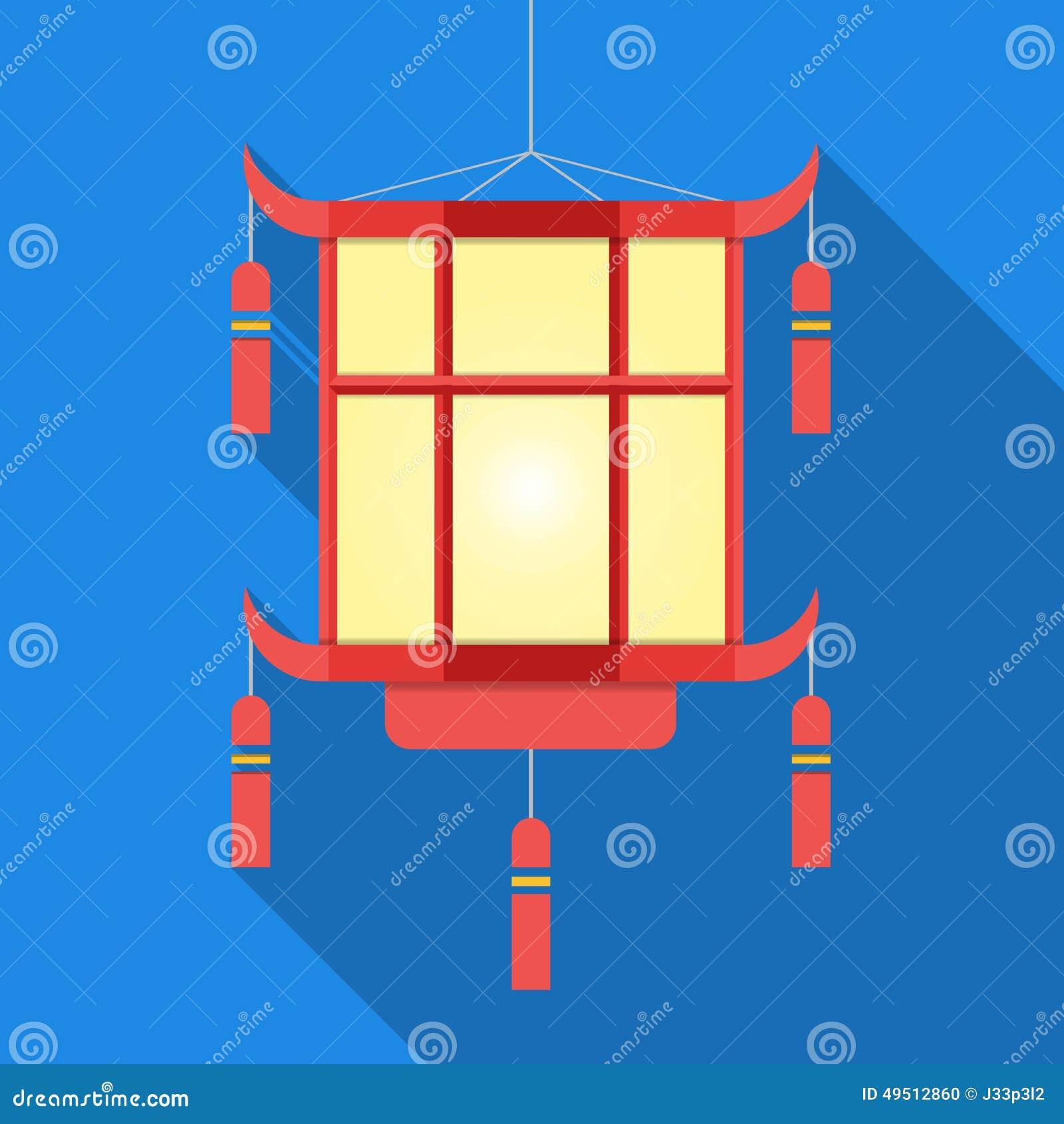 Linterna china en sombra larga