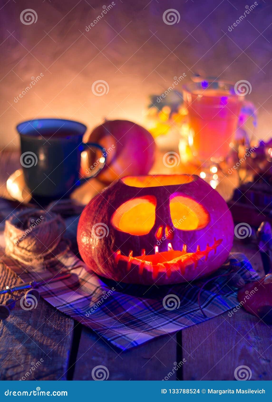 Linterna de Jack de la calabaza de la noche de Halloween