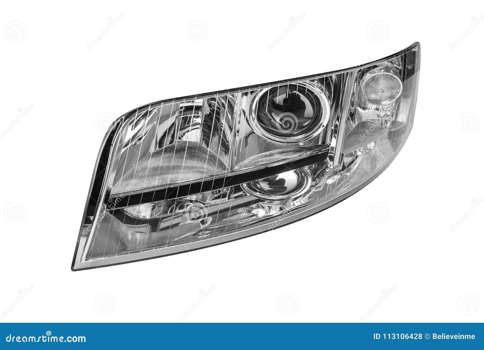 Linterna del coche aislada en el fondo blanco