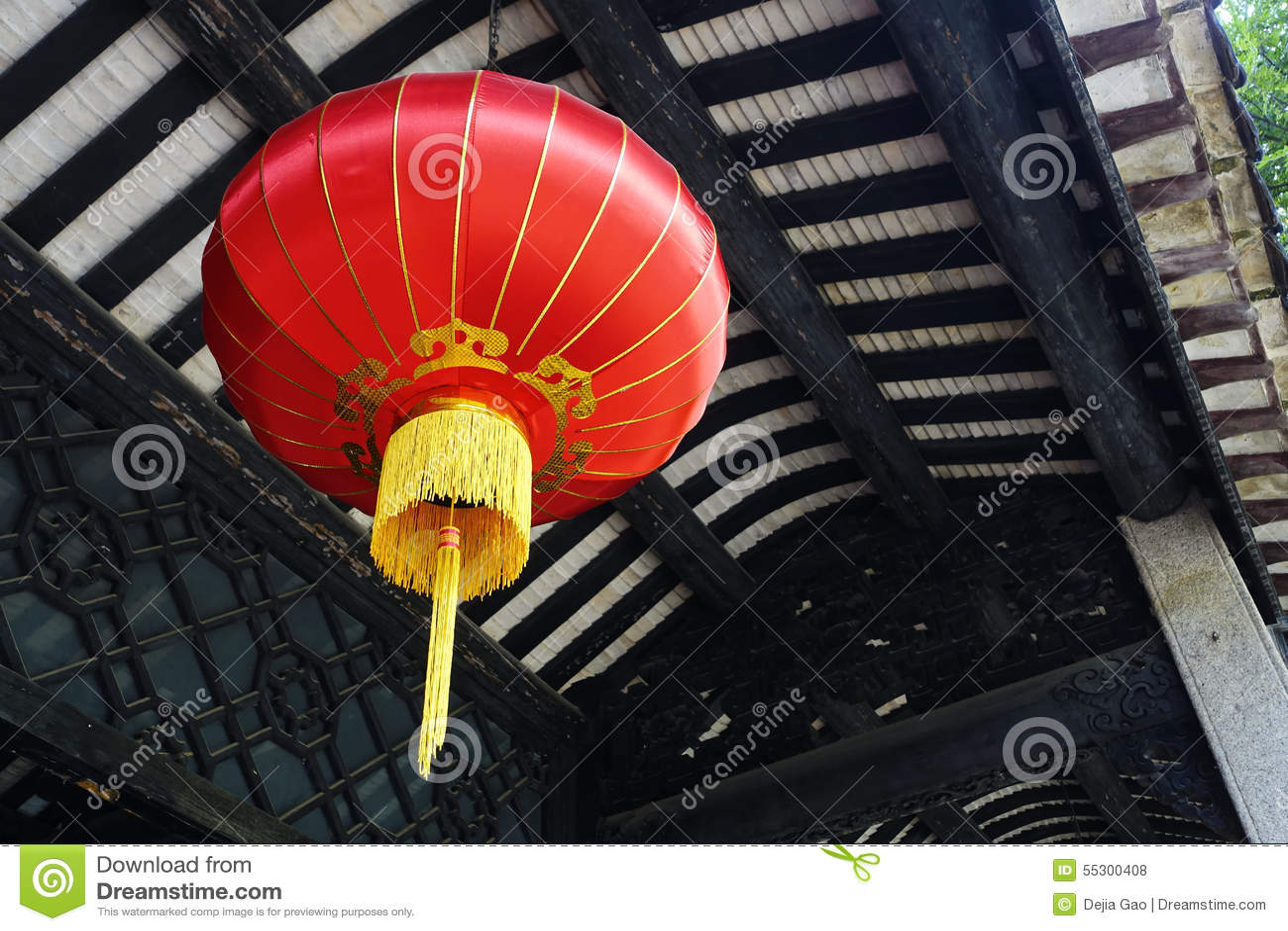 Linterna del rojo del chino tradicional