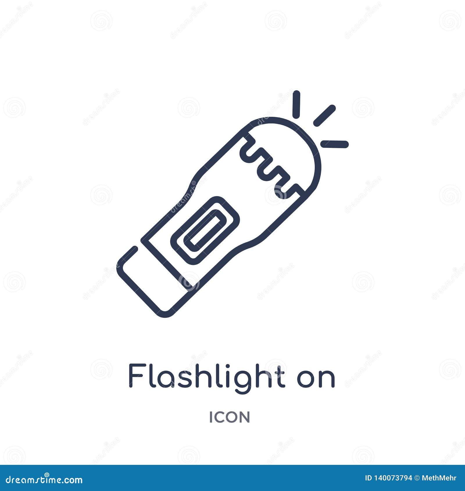 Linterna linear en icono de la colección del esquema general Línea fina linterna en el icono aislado en el fondo blanco linterna