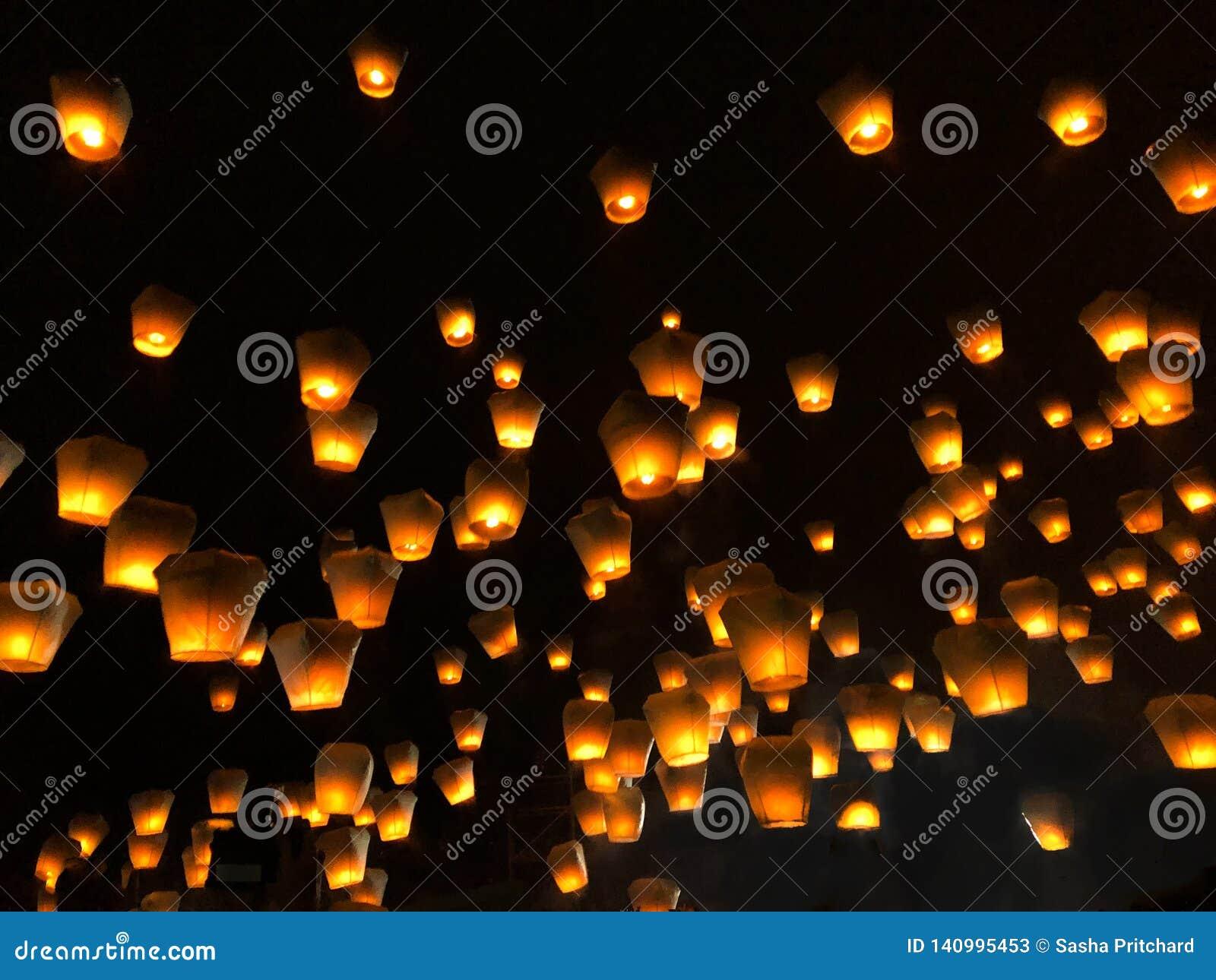 Linternas chinas durante el festival de linterna