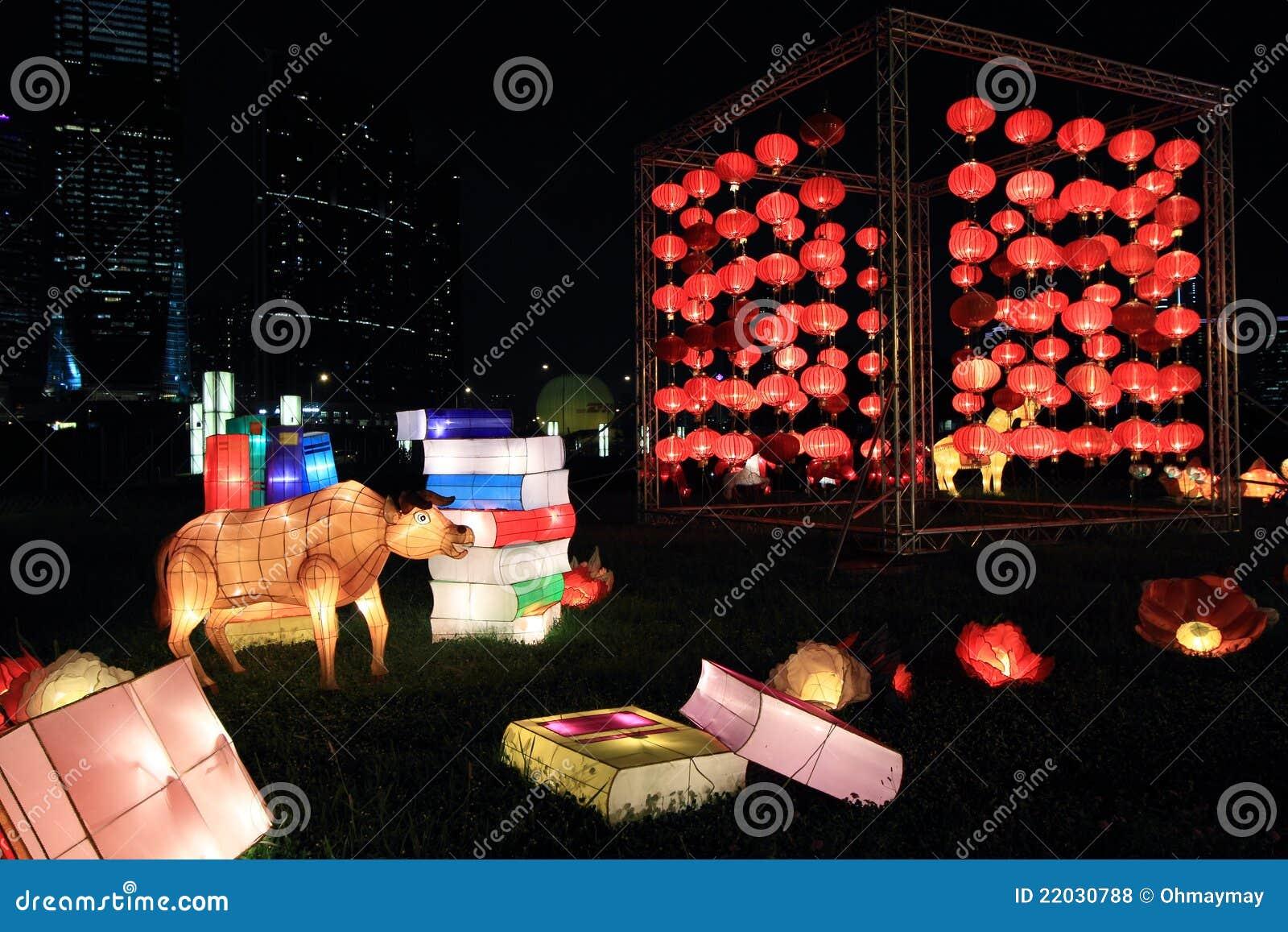 Linternas chinas para el festival del mediados de-otoño
