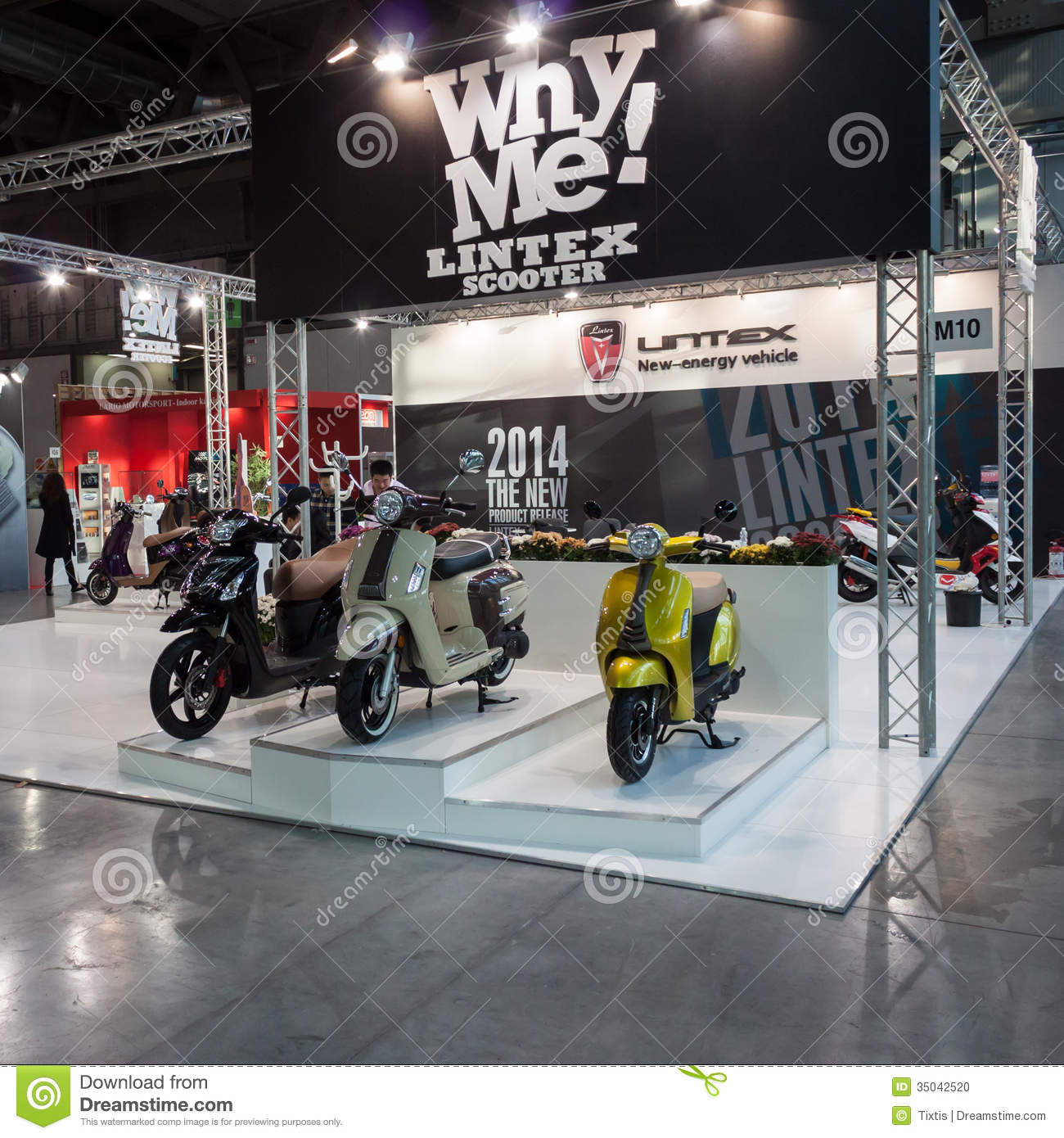 Exhibition Stand Vector Free Download : Lintex scooters at eicma in milan italy editorial