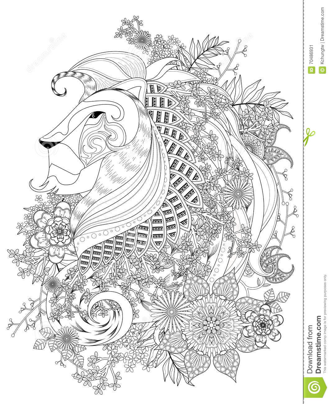 Lion adult coloring page stock vector. Illustration of background ...