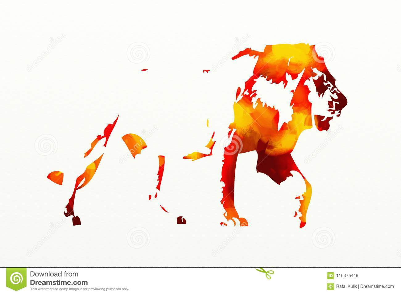 Lion Art Illustration Painting Funny Project Stock