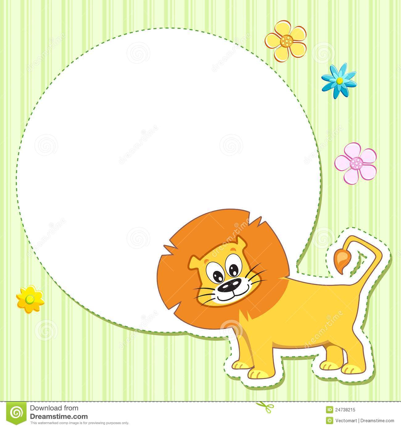 lion on baby card royalty free stock photo