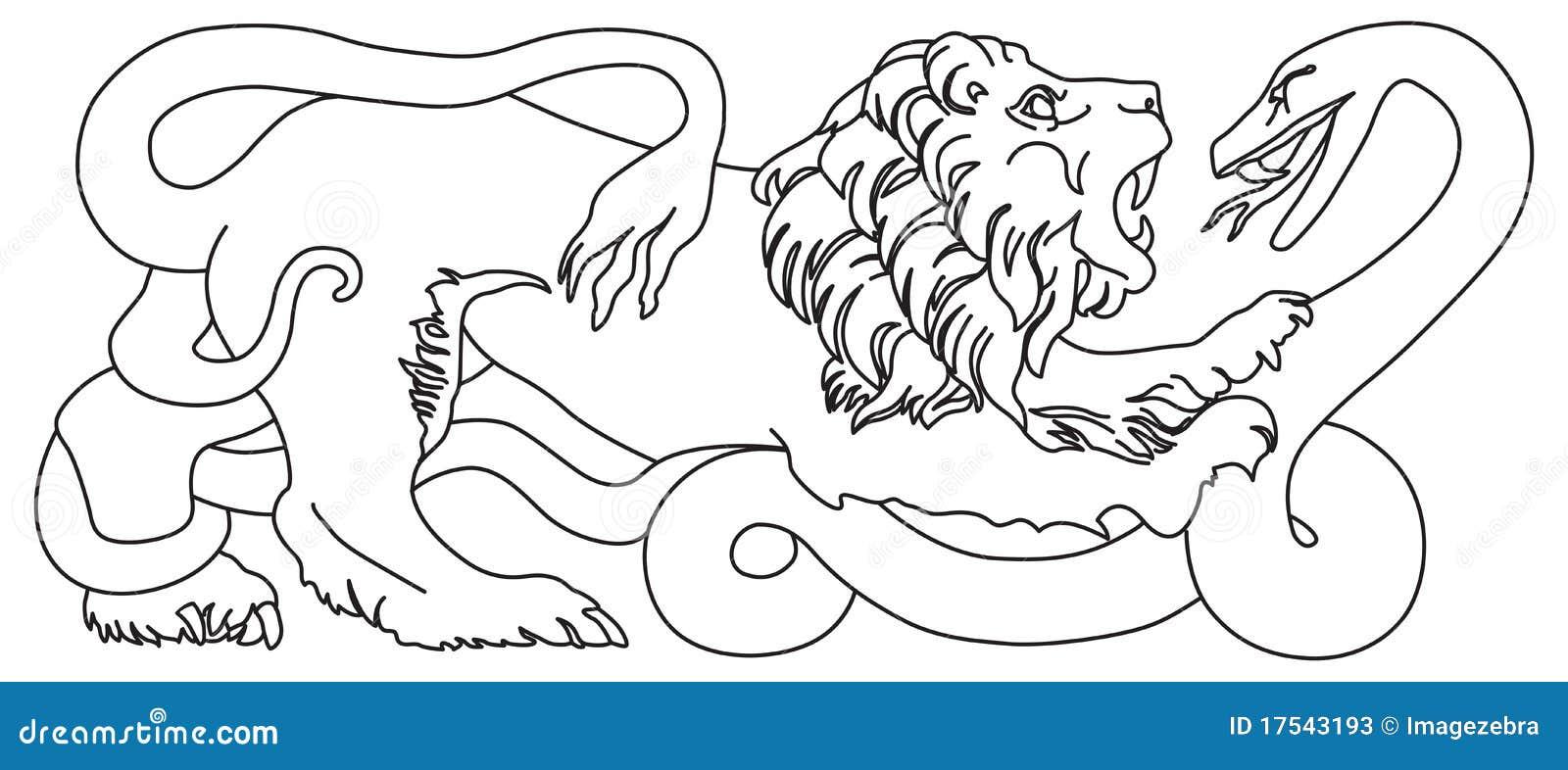 lion battling snake stock photos image 17543193