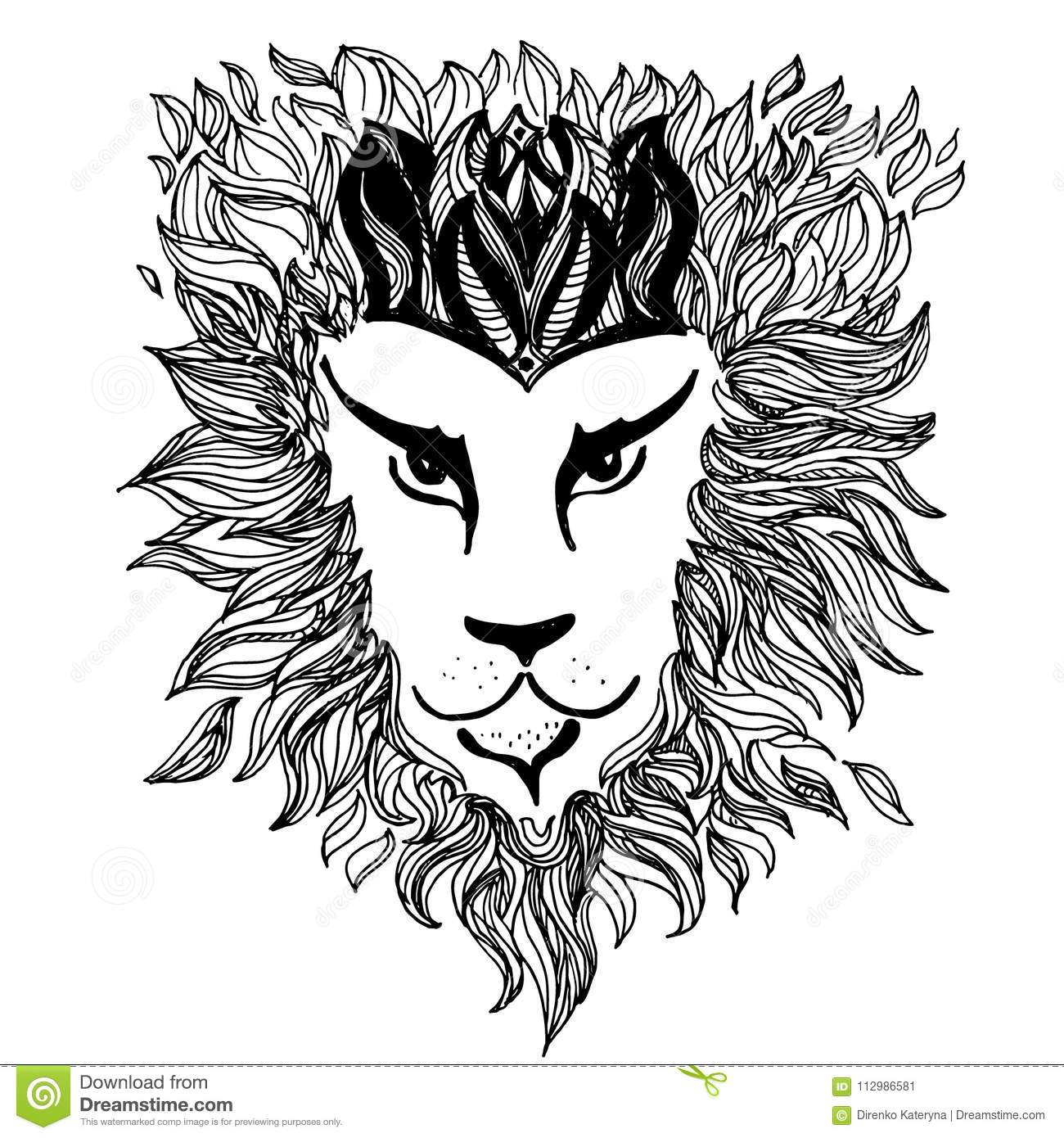 The Lion Black And White Doodle Vector Illustration Stock