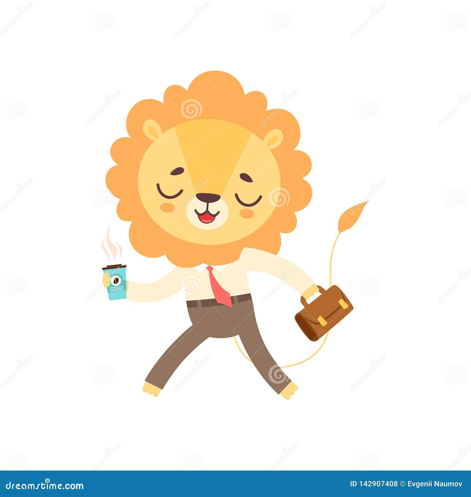 Lion Businessman Walking sveglio con la tazza di caffè e la cartella, vettore animale africano divertente del personaggio dei car