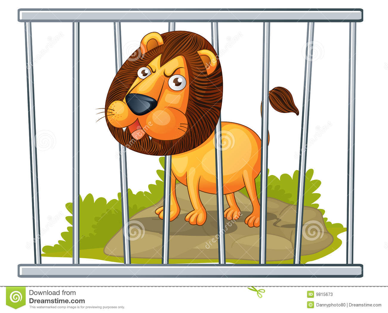 Lion In A Cage Stock Vector. Illustration Of Cartoon