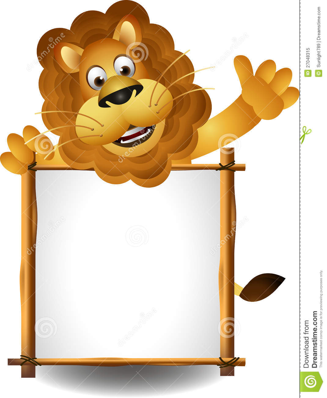 Lion Cartoon With Board Royalty Free Stock Photo - Image: 27048315