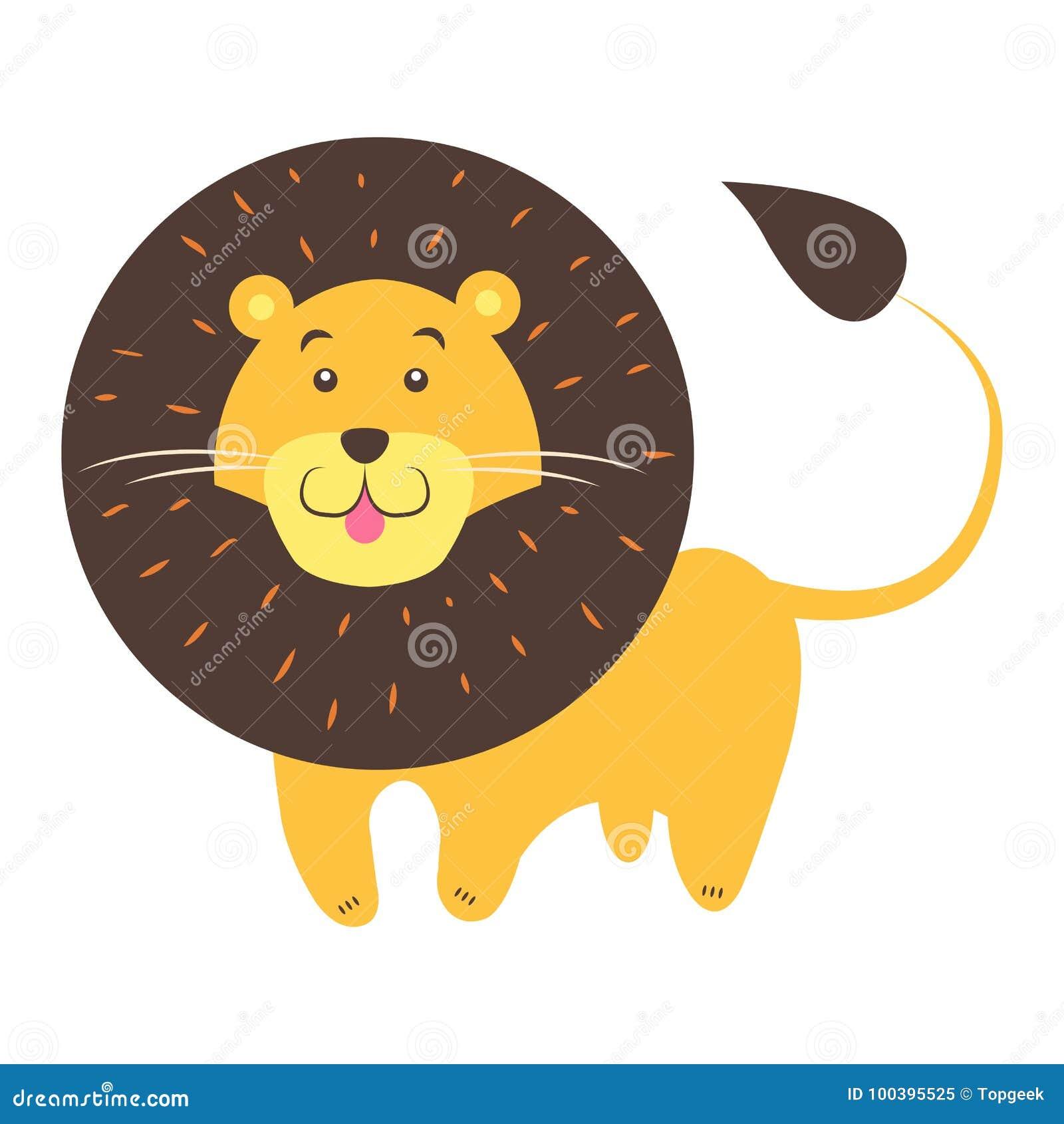 Lion Cartoon Flat Vector Sticker ou icône mignon