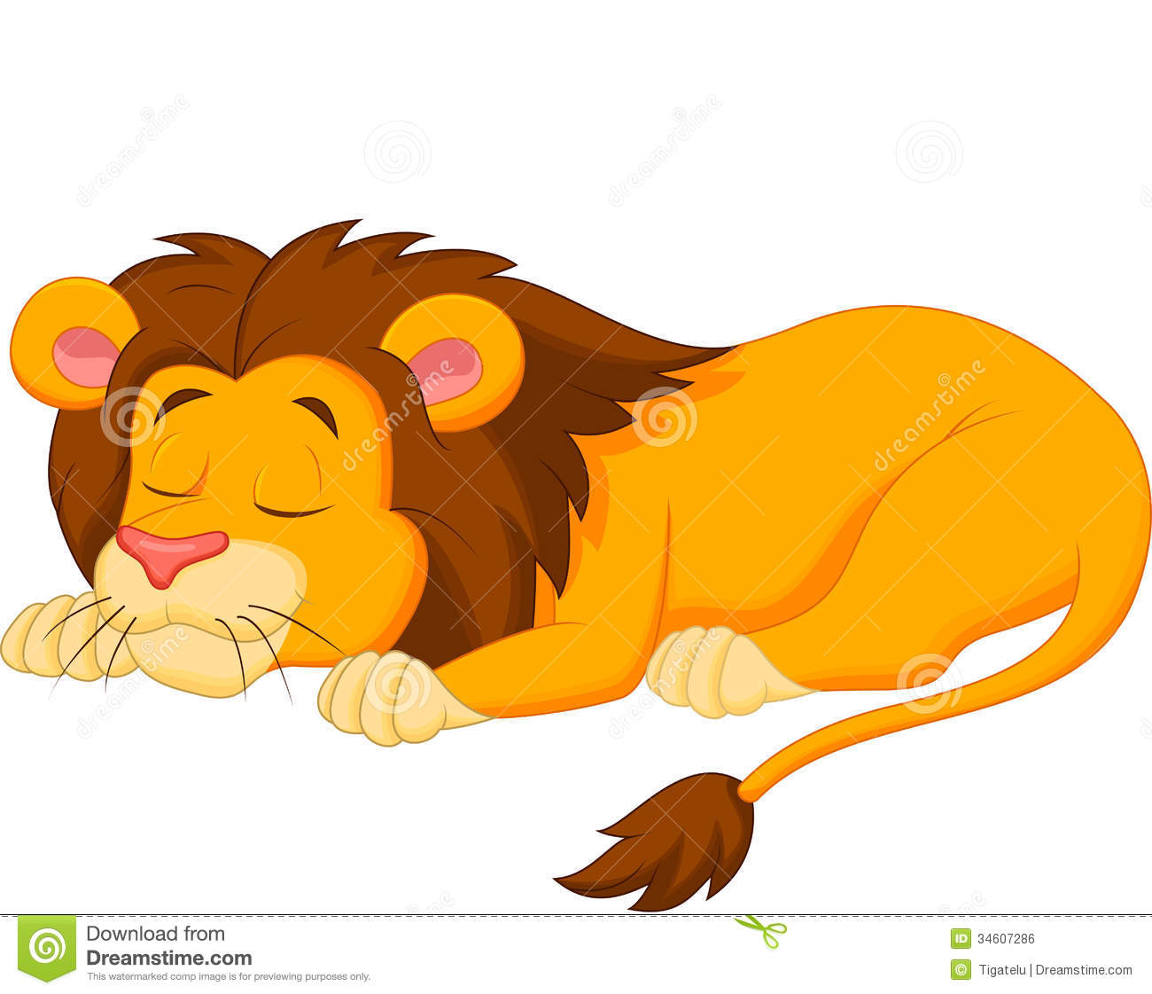 Download Lion cartoon sleeping stock vector. Illustration of nature - 34607286