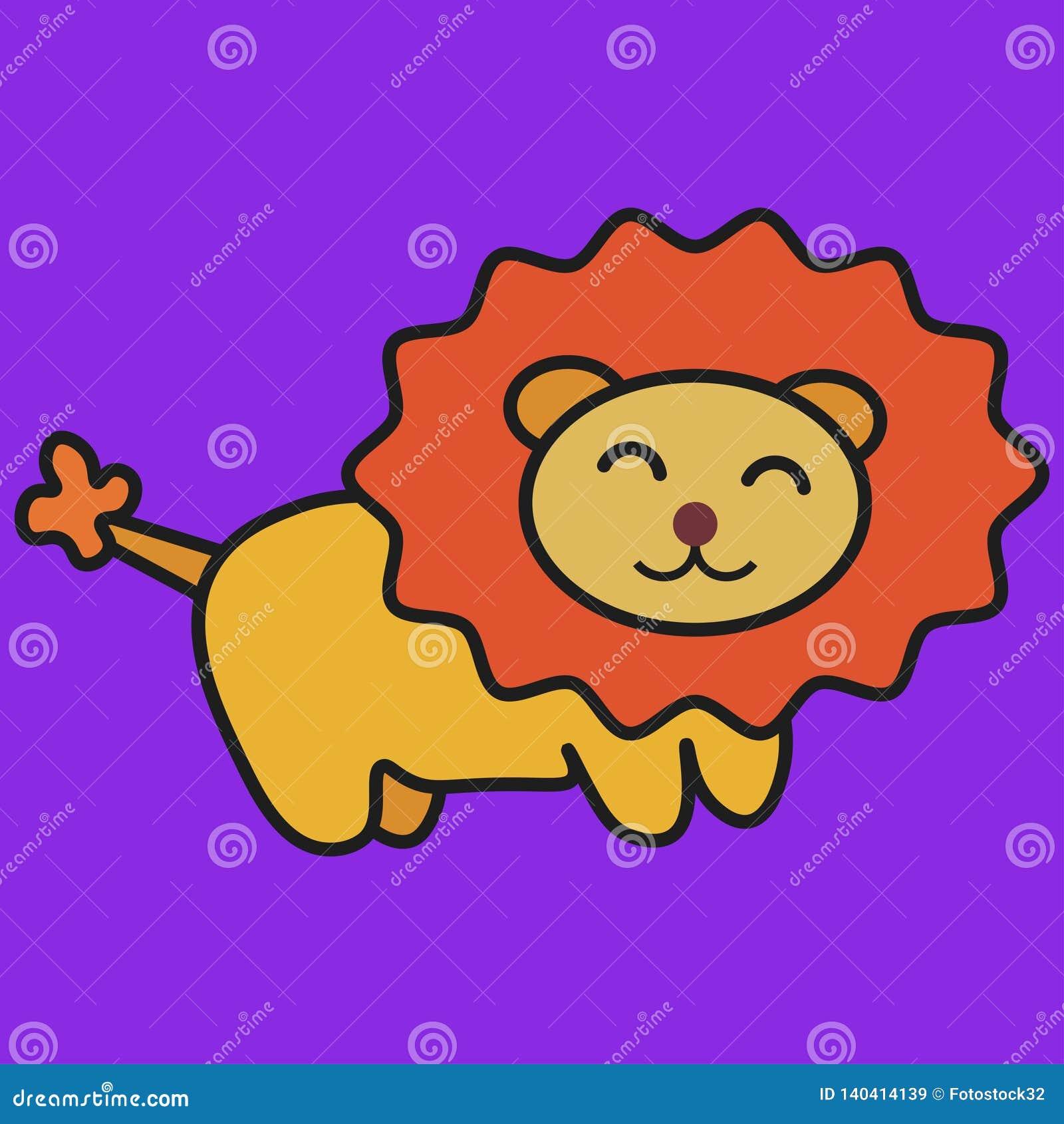 Lion in cartoon style
