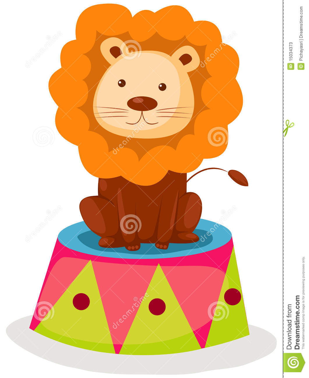 Illustration of isolated lion circus sitting on white background.
