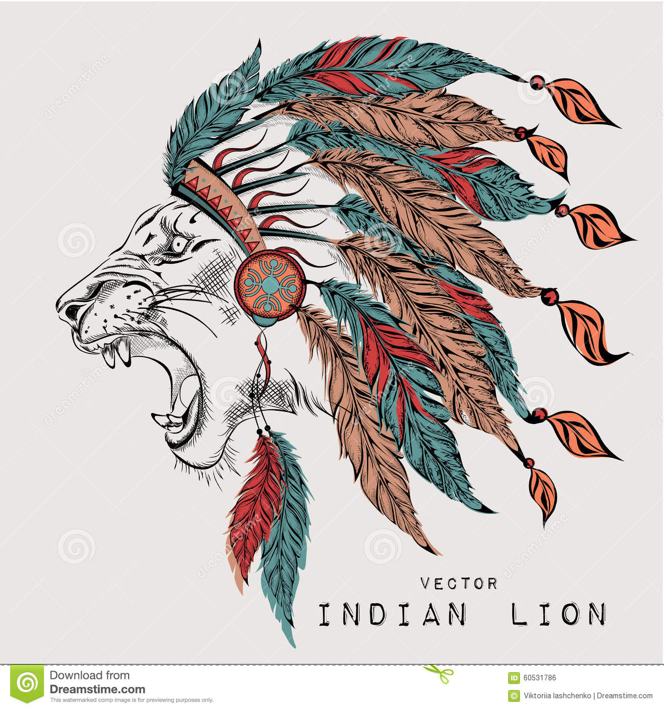 Lion In The Colored Indian Roach Indian Feather Headdress Of Eagle