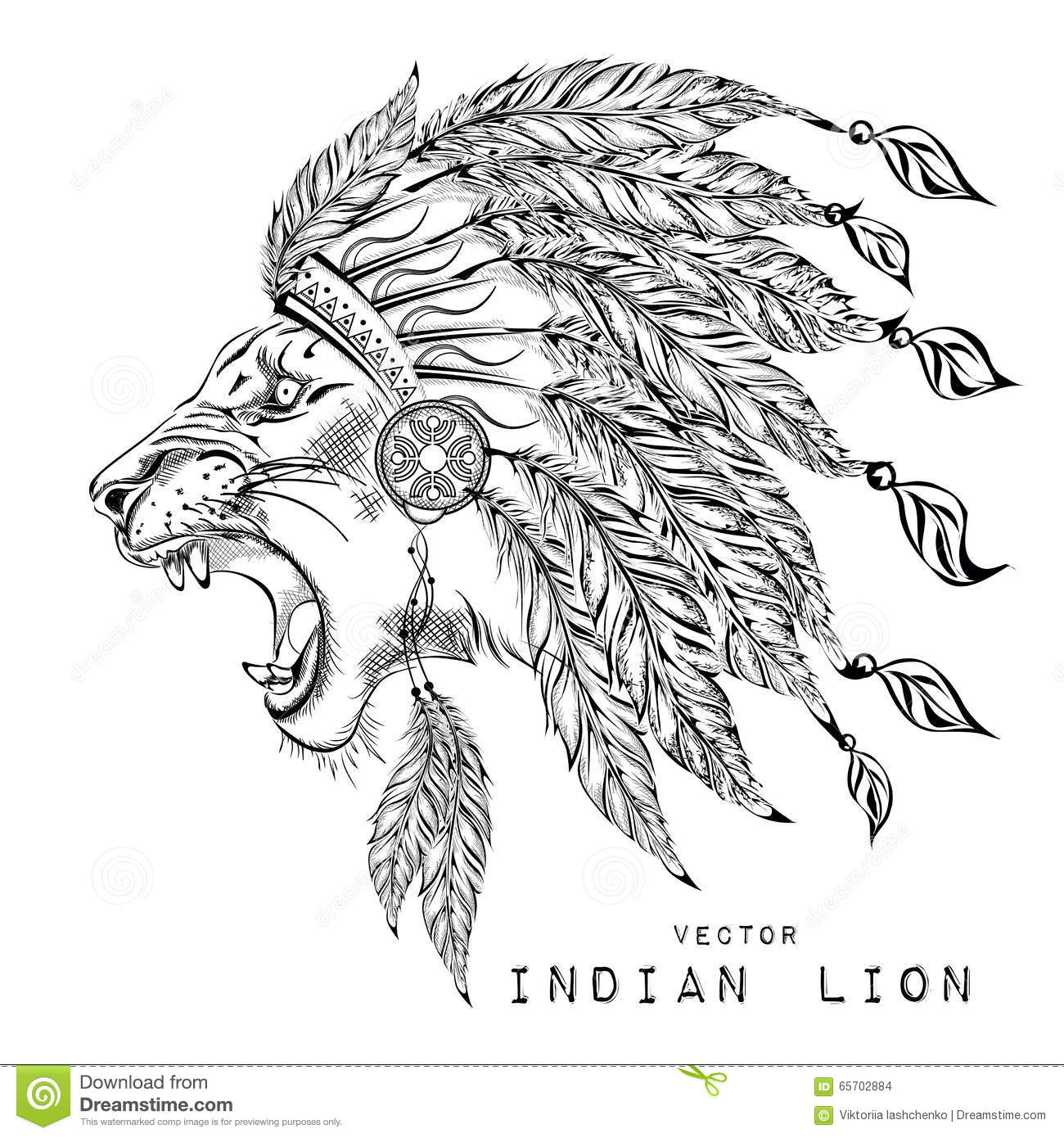 Lion In The Colored Indian Roach. Indian Feather Headdress Of Eagle ...