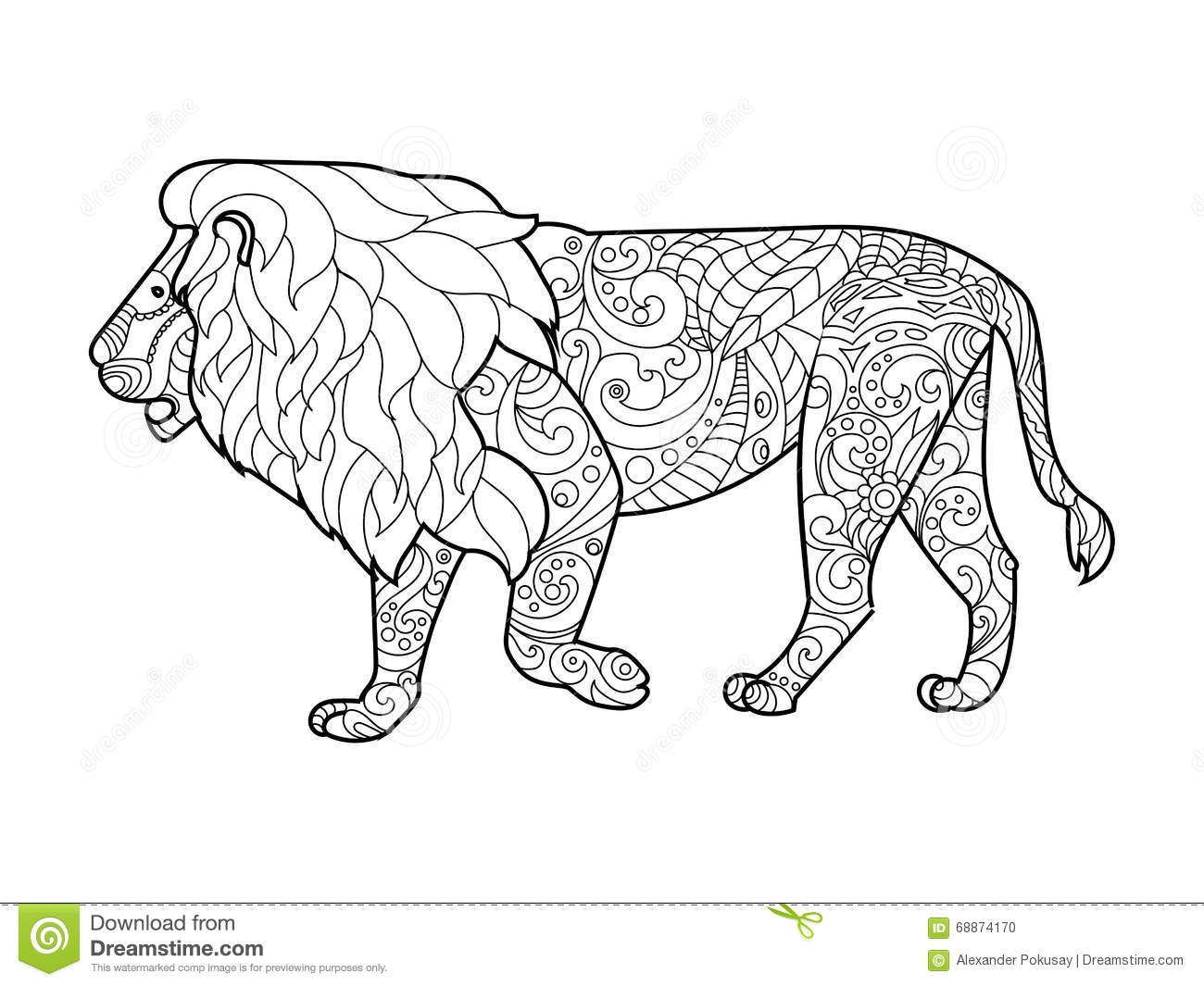 Lion Coloring Book For Adults Vector Stock Vector - Illustration of ...
