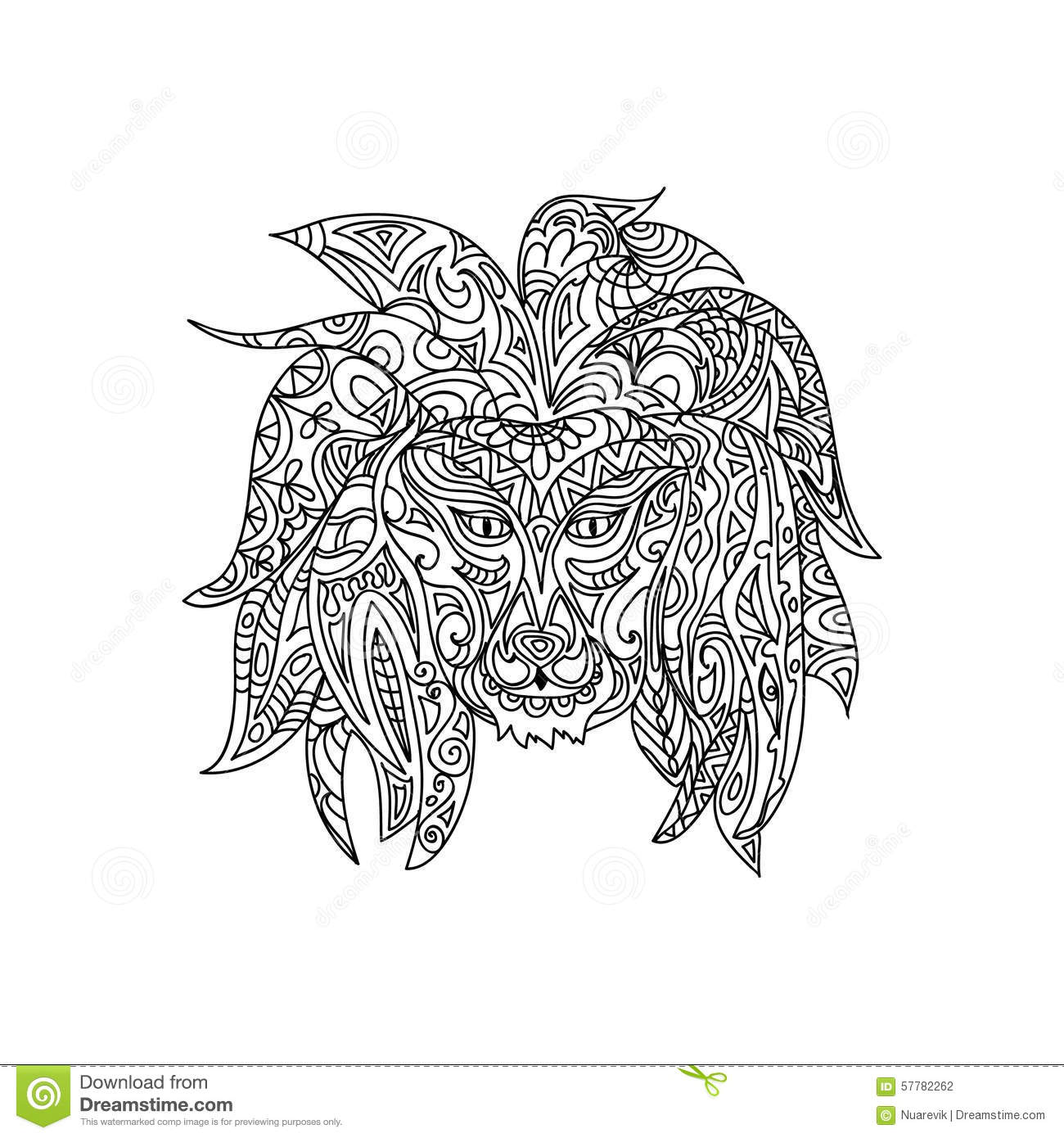 Lion Coloring Page Stock Illustration