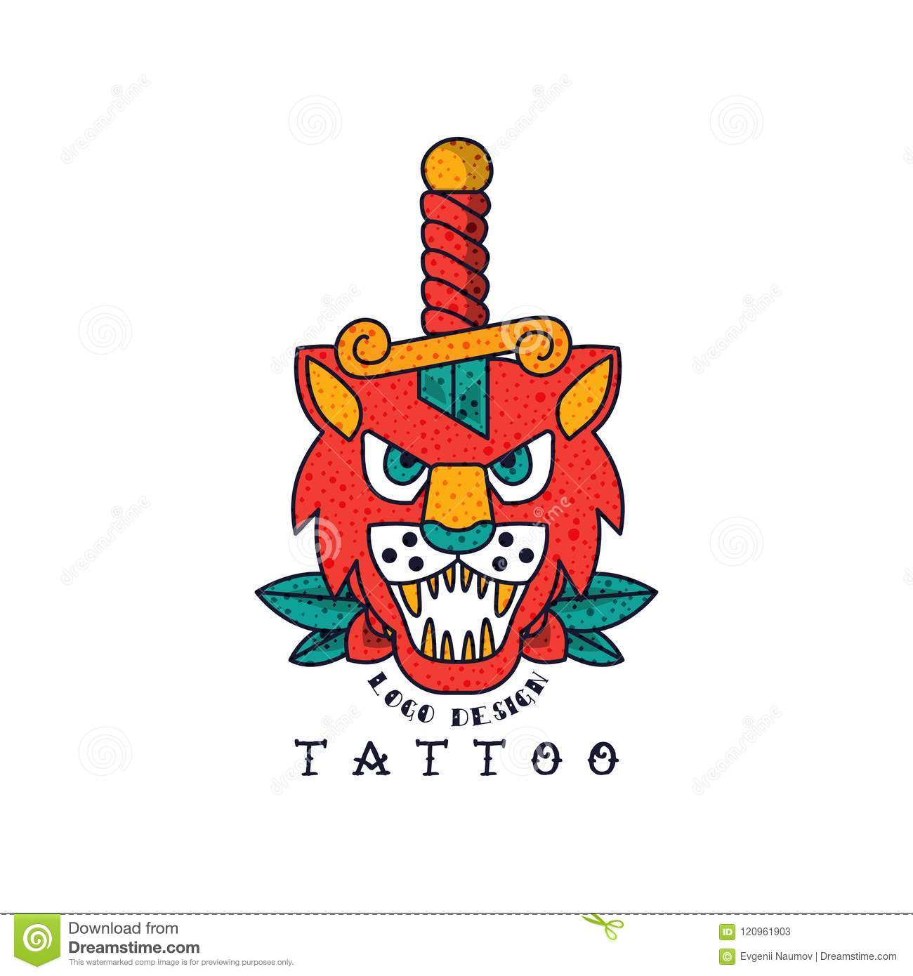 668616bd9 Lion and dagger, classic American old school tattoo logo design vector  Illustration isolated on a white background.