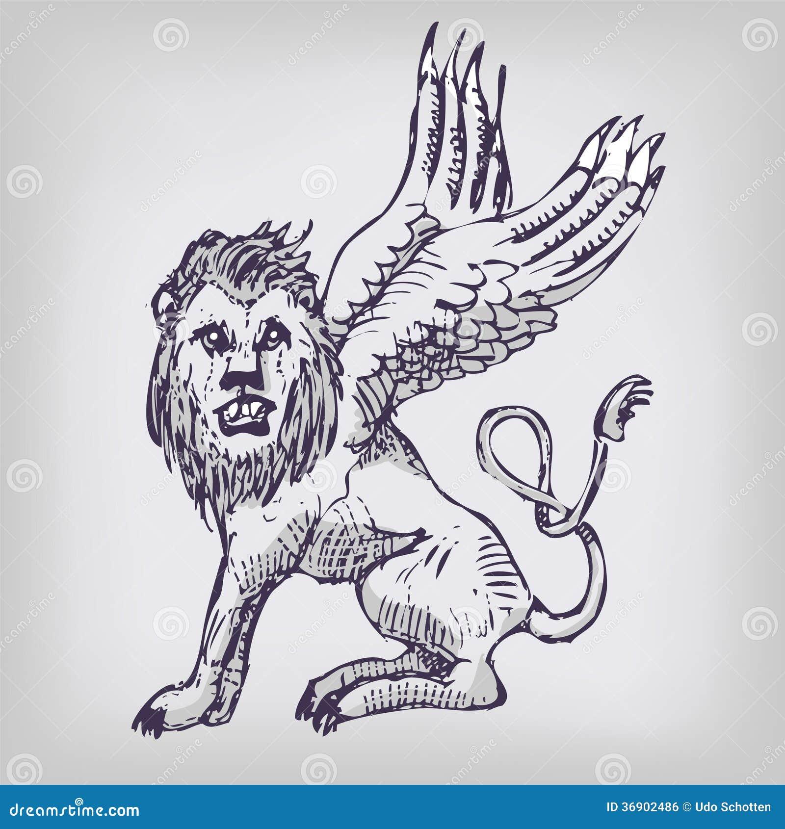 Lion de dessin avec des ailes image libre de droits - Dessin de coeur avec des ailes ...