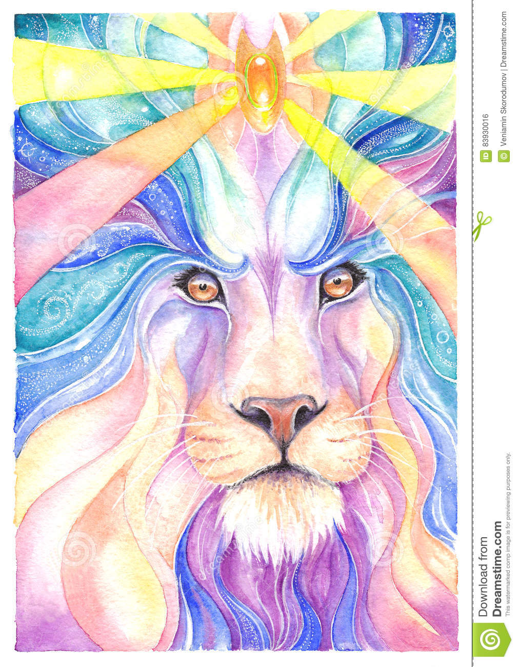Lion drawing watercolor and colored pencil