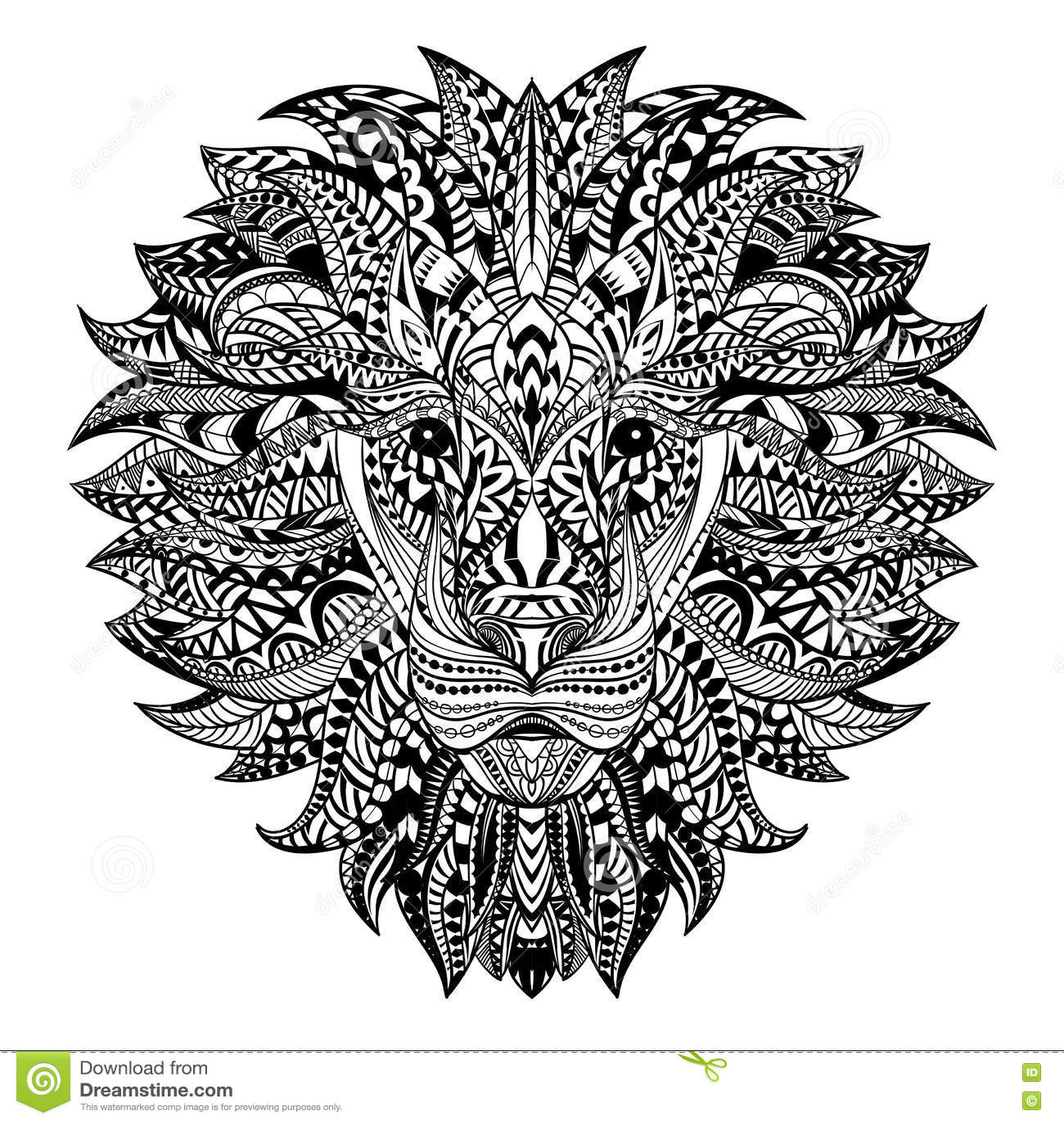Lion Detaille Dans Le Style Azteque Tete Modelee Sur Le