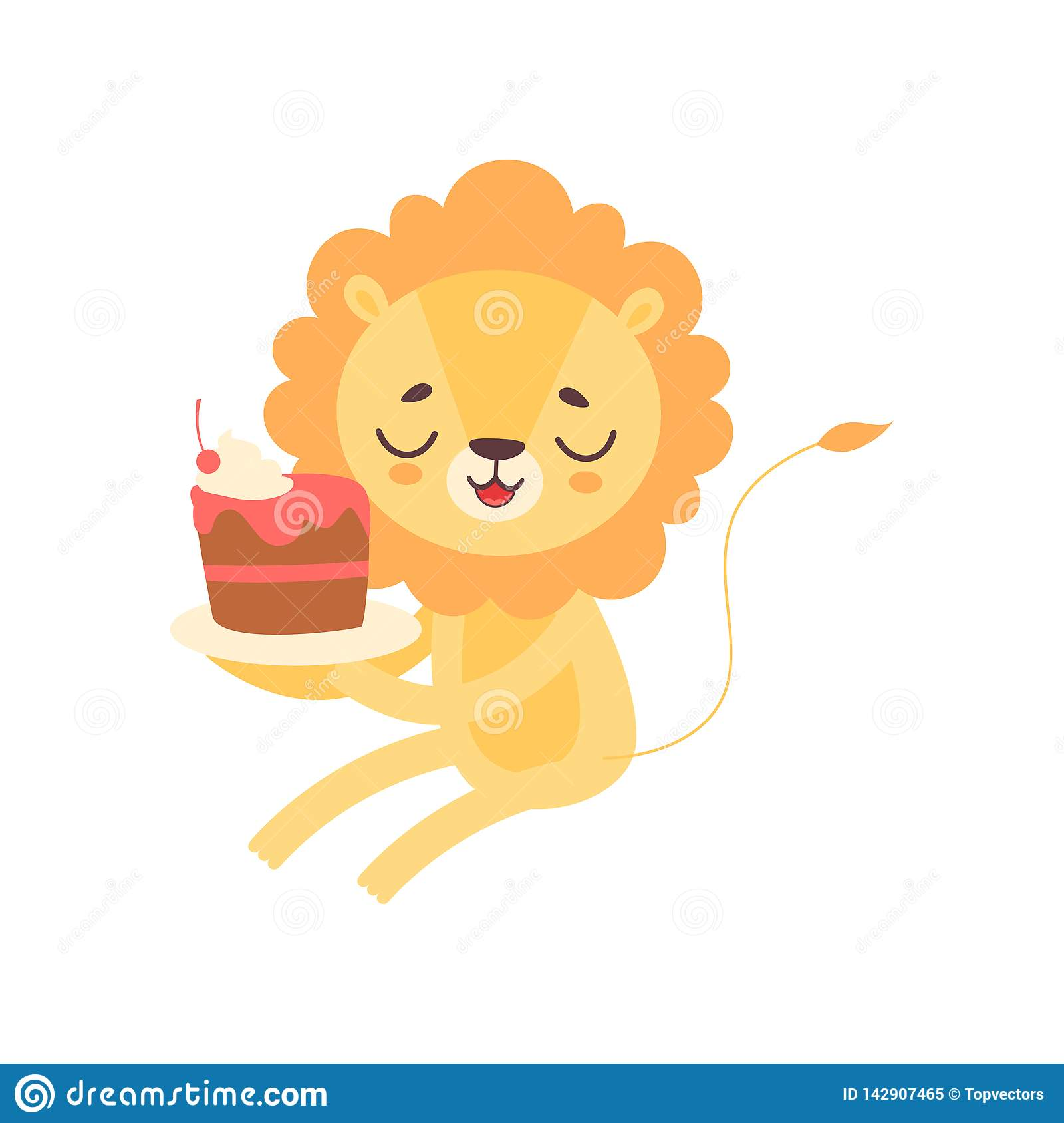 Lion Eating Cupcake Mignon Illustration Animale Africaine Drole