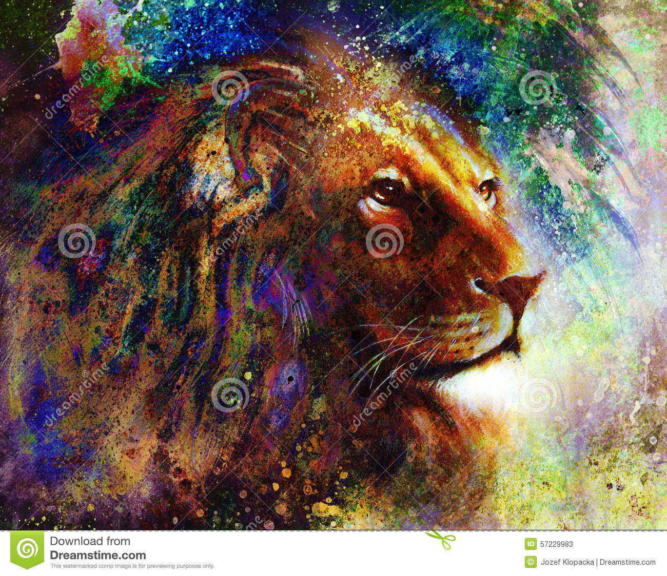 lion face profile portrait  on colorful abstract feather