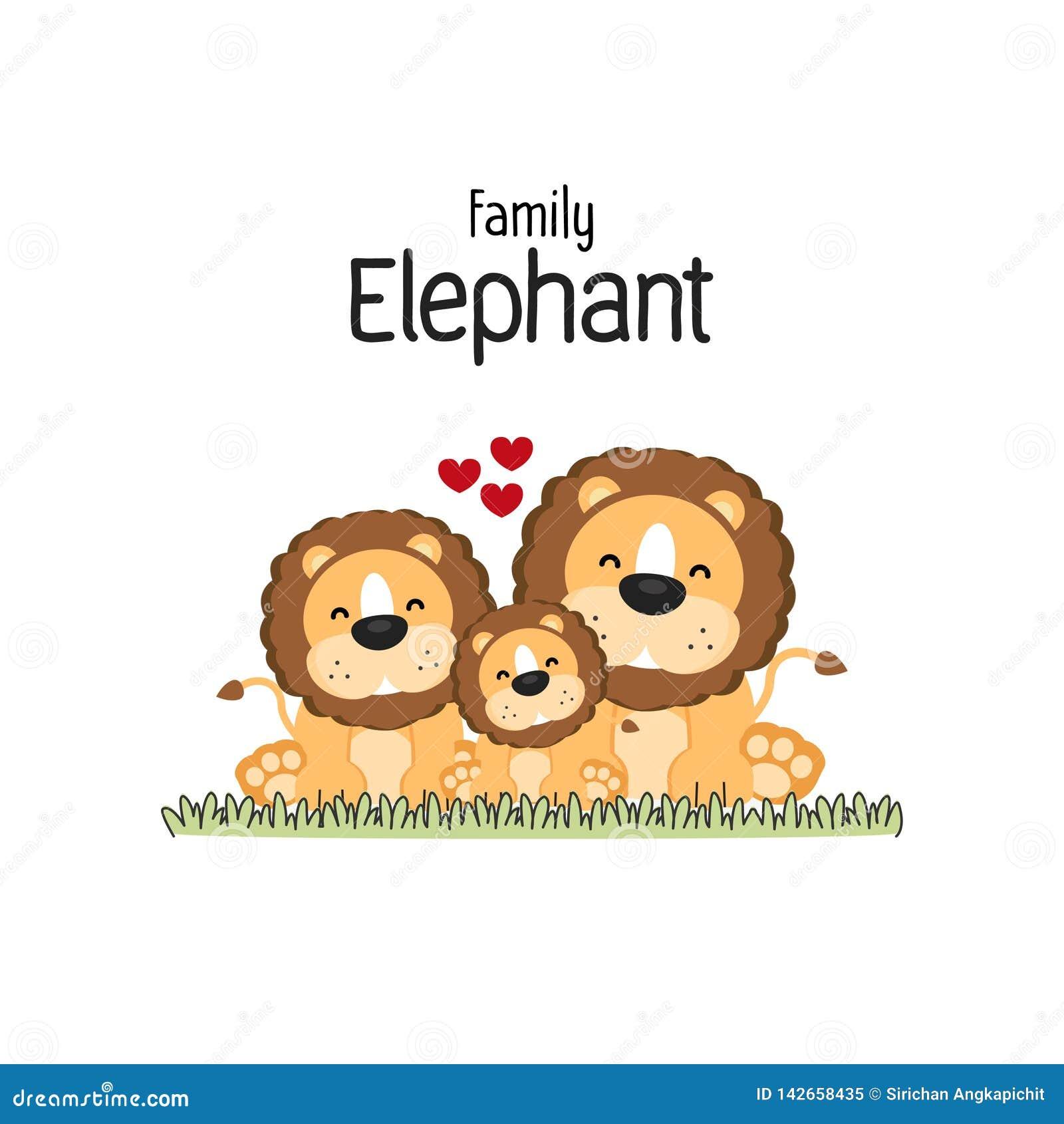Lion Family Cartoon Mom Dad et enfant
