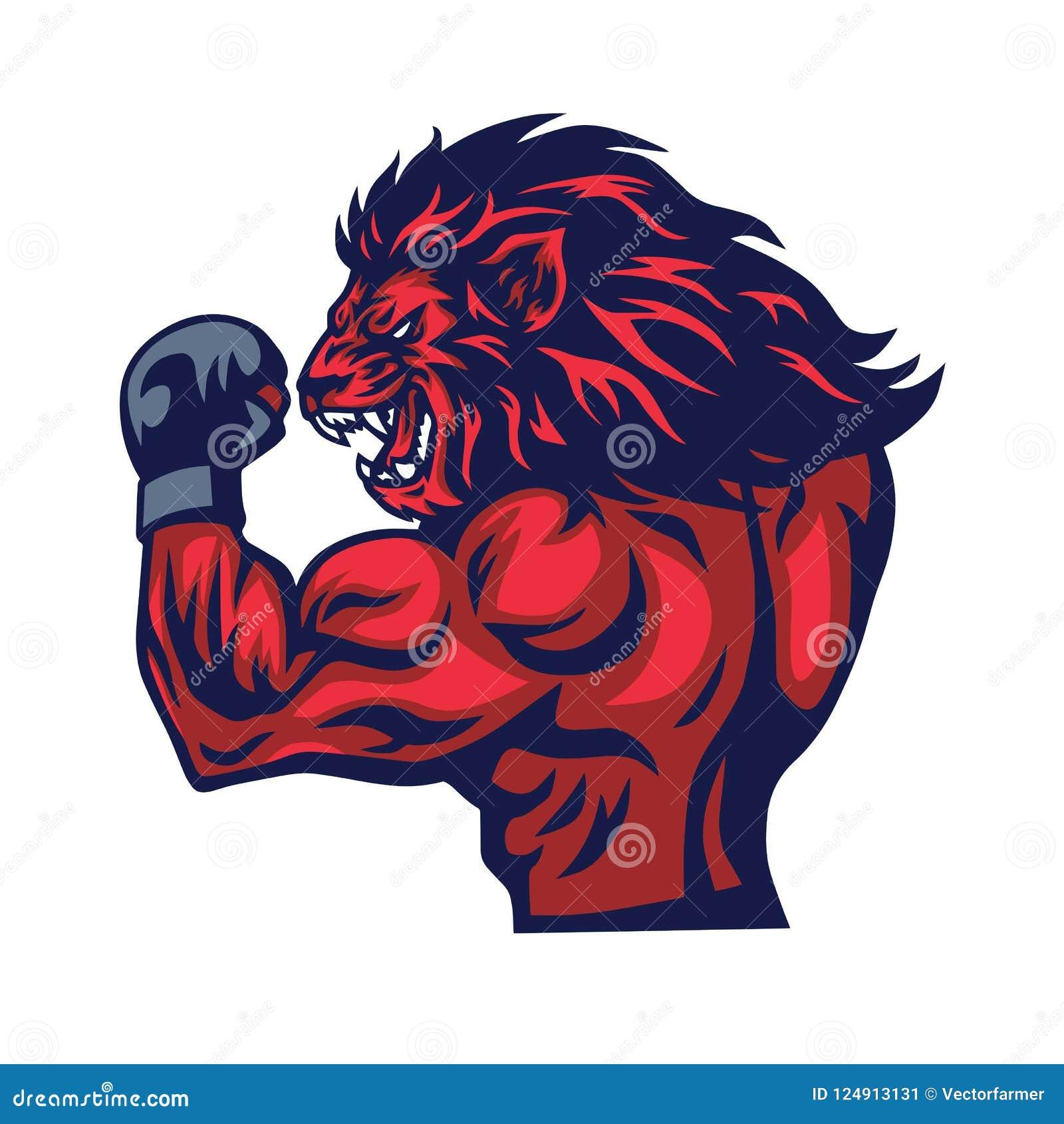 Lion Fighter Mascot Vector