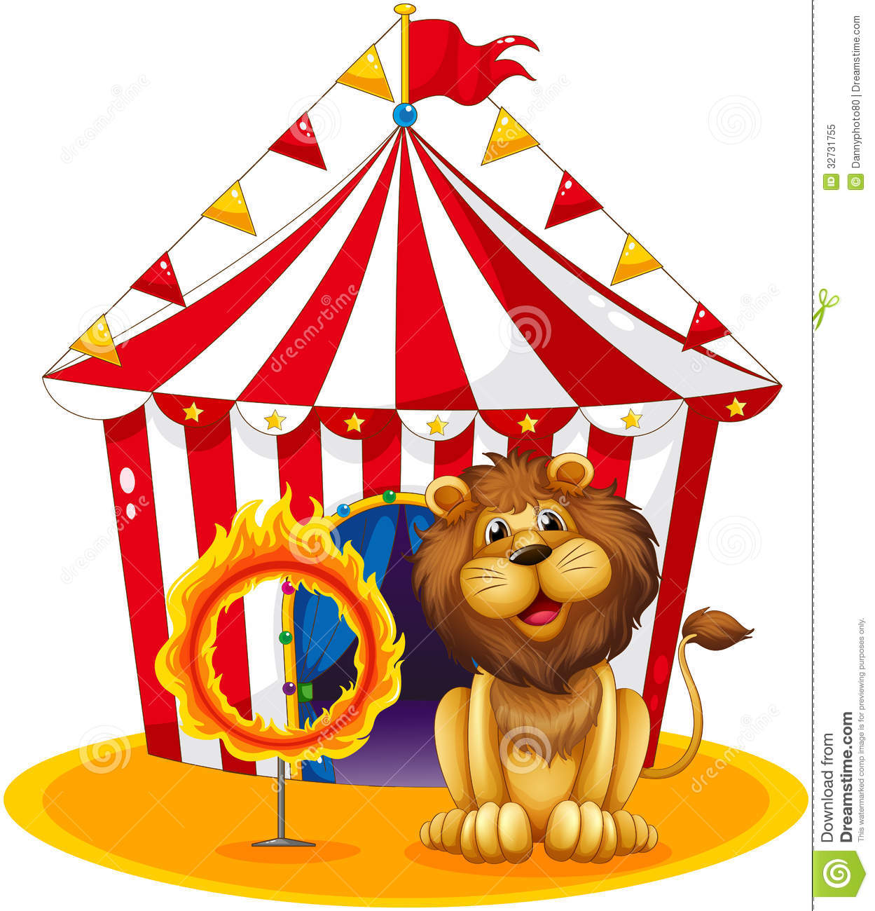 A Lion Beside A Fire Hoop At The Circus Royalty Free Stock