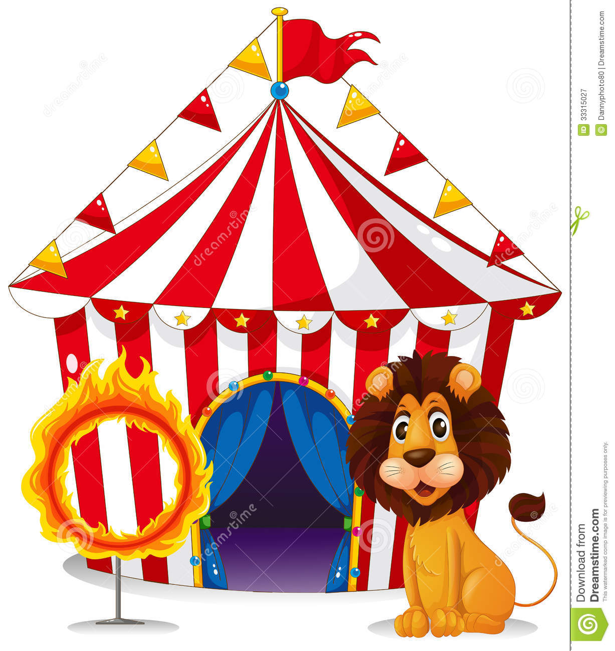 Illustration of a lion and a fire ring in front of the circus tent on ...