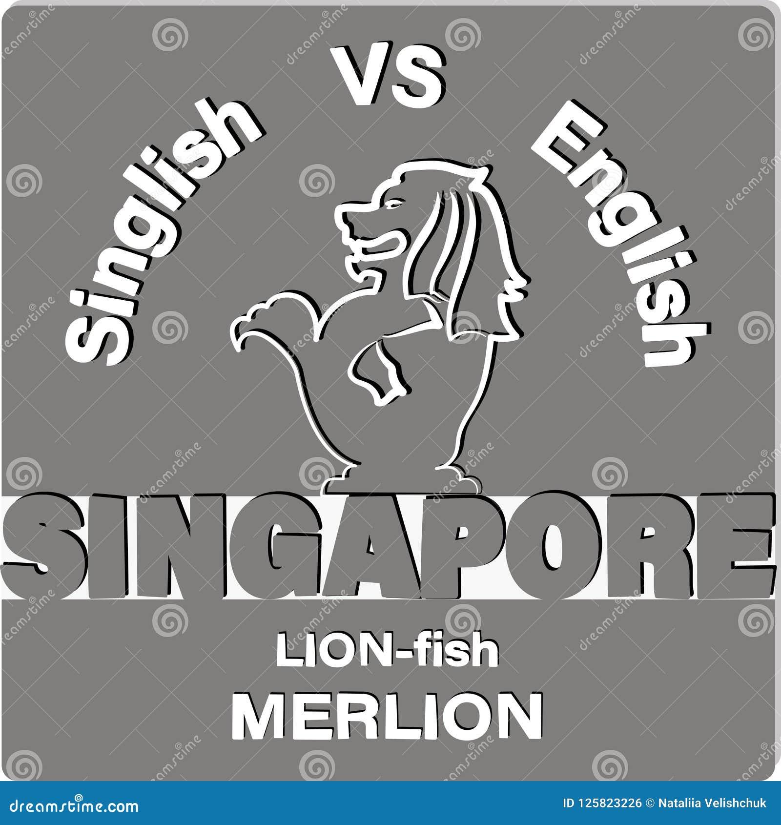Lion Fish Merlion Singapore Stock Vector Illustration Of