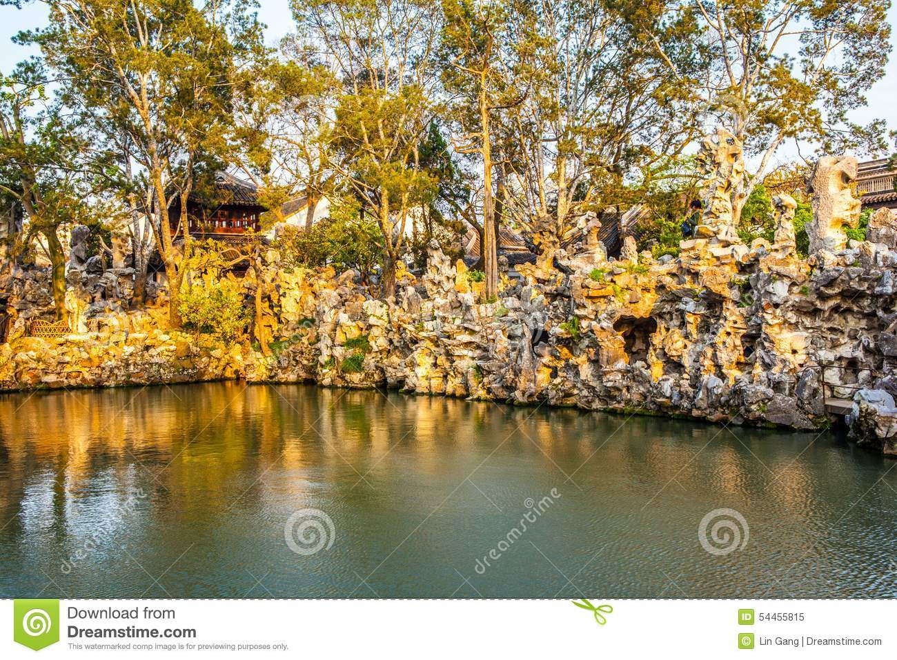 Lion Forest Garden-Taihu Rockery In The Sunset Stock Image - Image ...