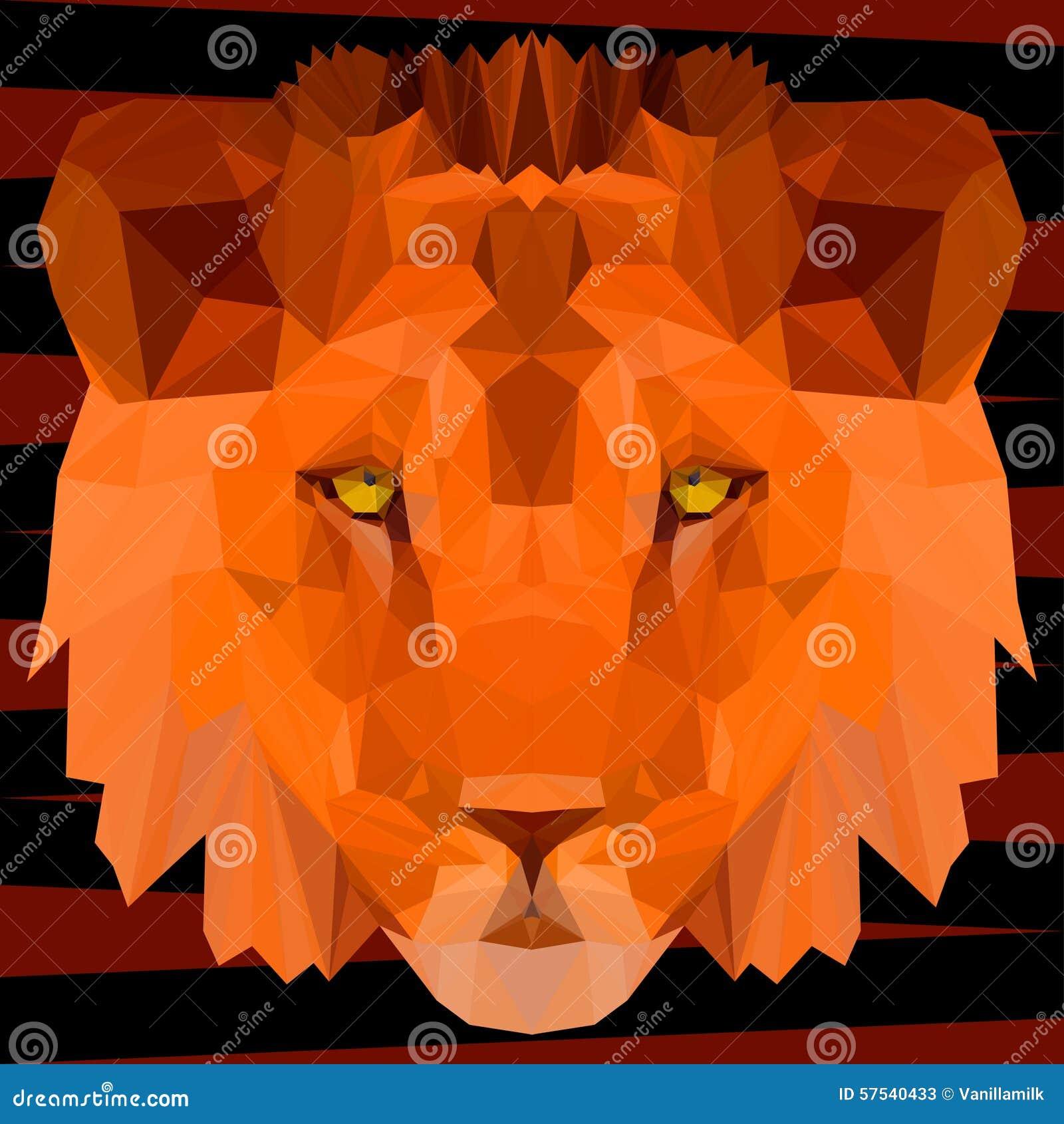 Lion Geometrique Polygonal Abstrait De Triangle Peint Dans Des