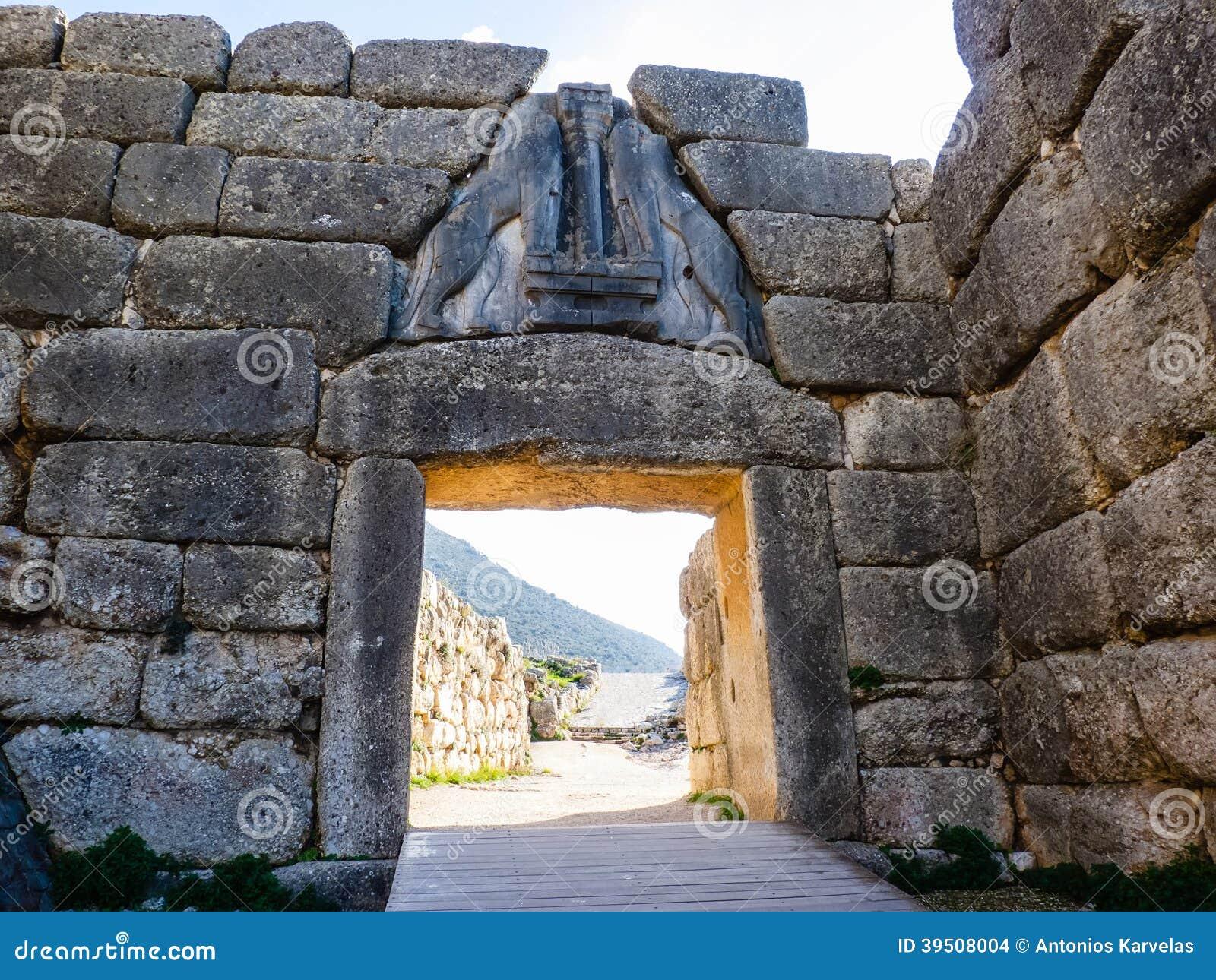 The Lion gate in Mykines, Greece