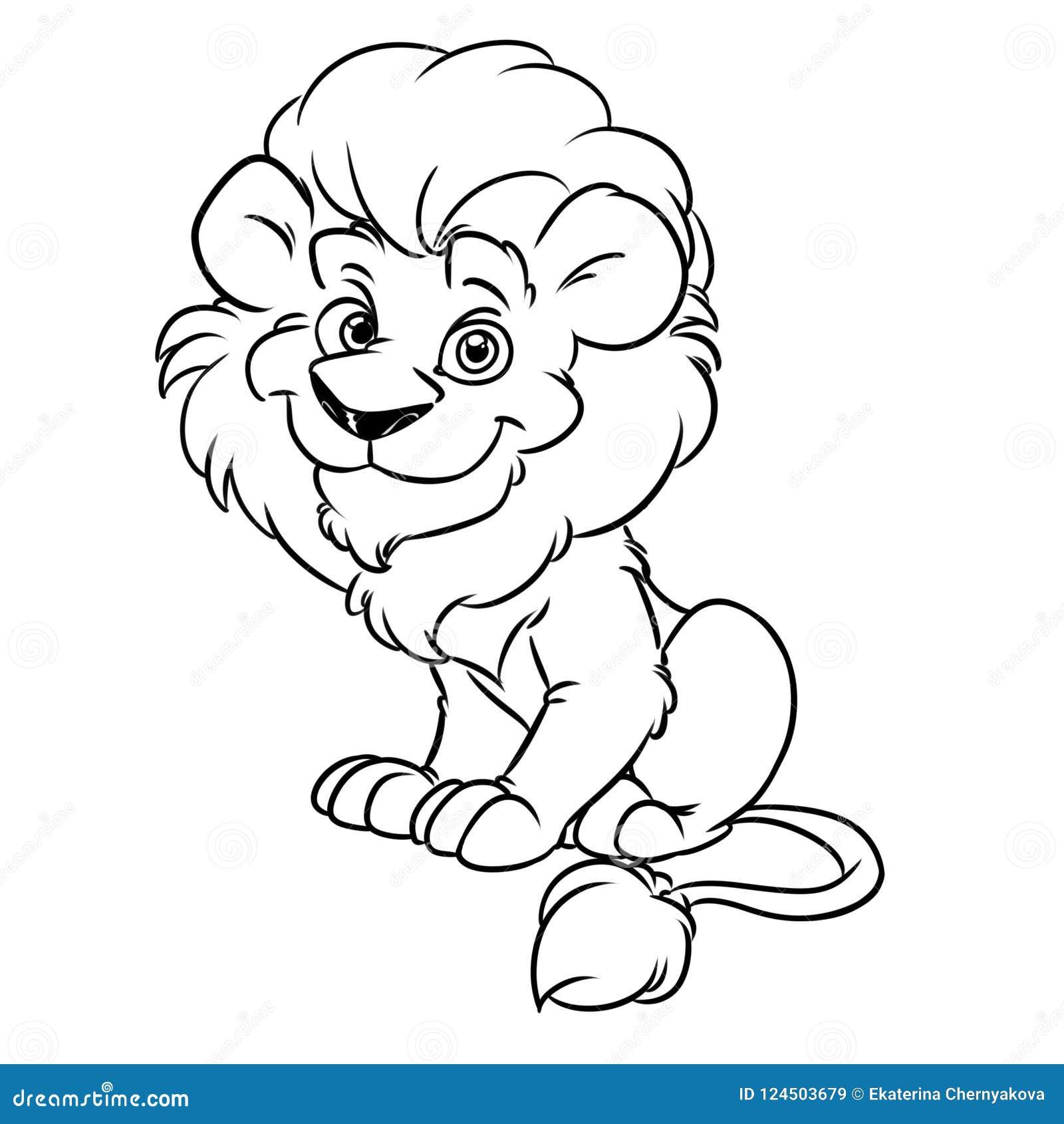 Lion Good Animal Contour Coloring Page Cartoon Stock Illustration