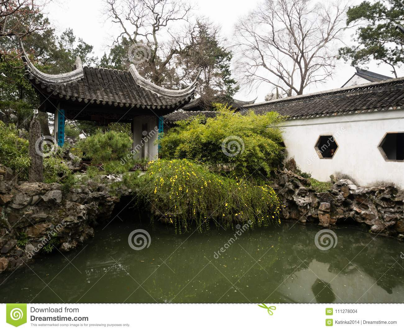 Lion Grove Garden, a classical Chinese garden and part of Unesco World Heritage in Suzhou