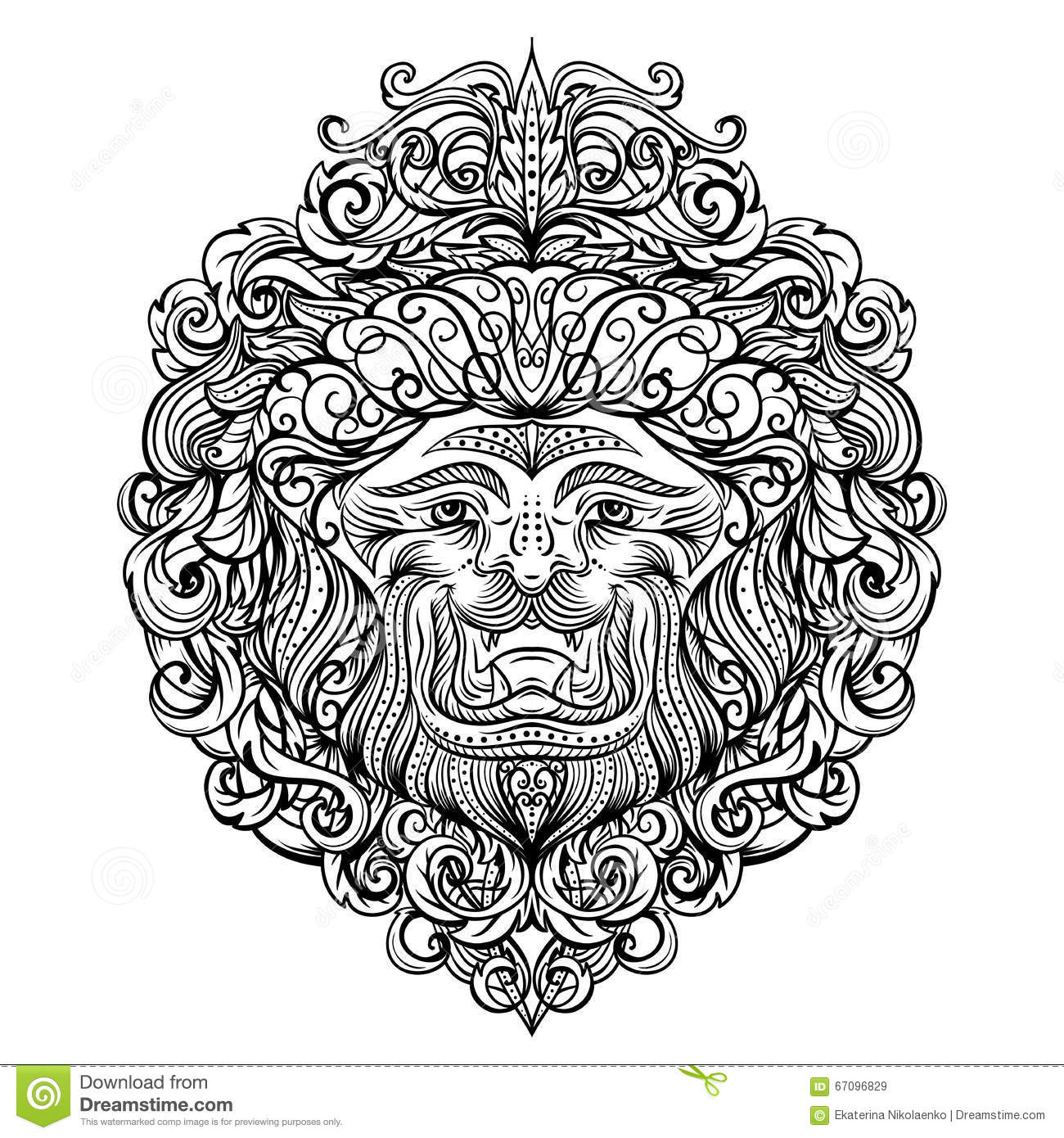 Lion Head With Abstract Ornament Vintage Tattoo Art