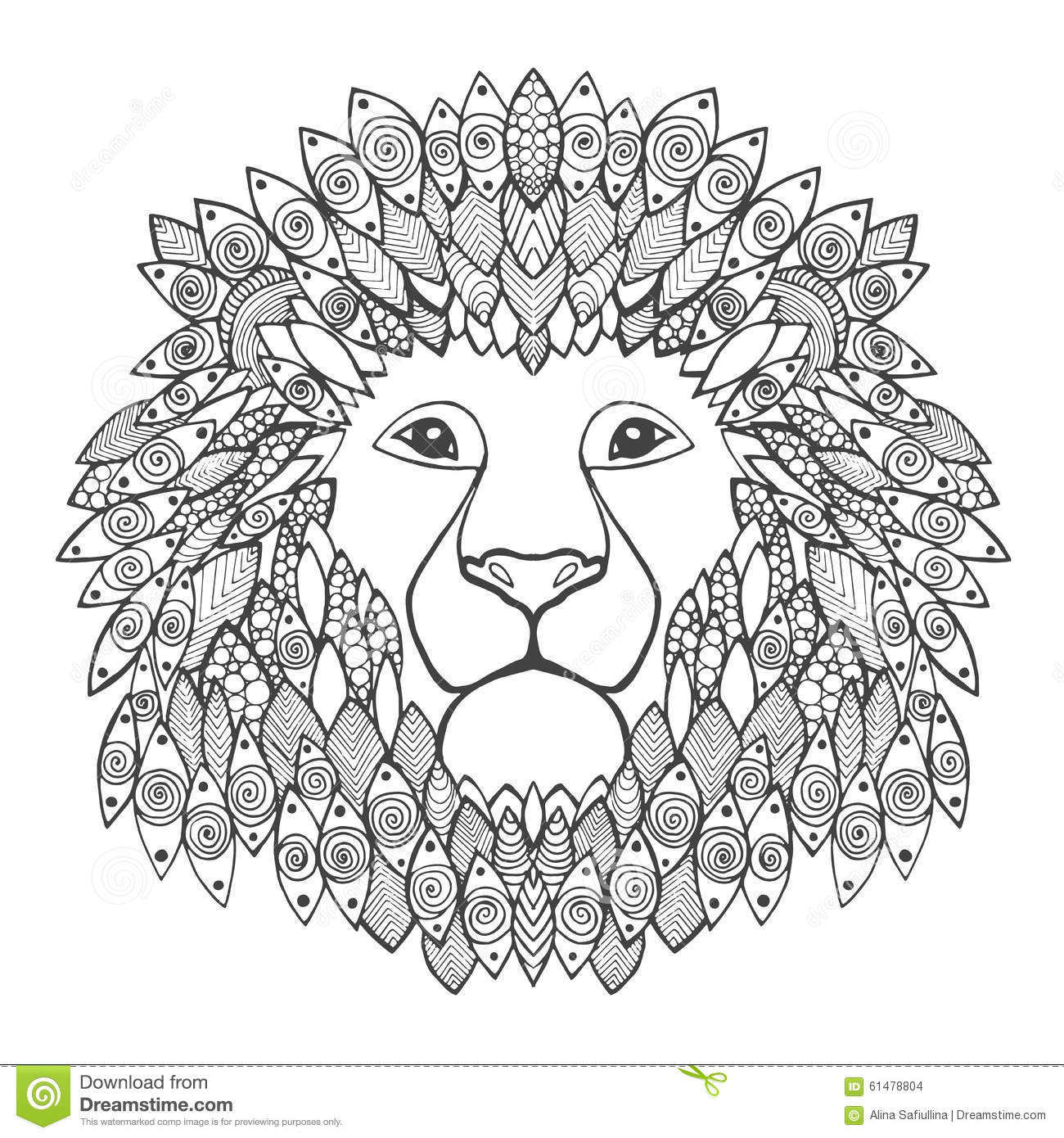 Lion Head Coloring Pages For Adults. Lion head  stock vector Illustration of lion drawn 61478804