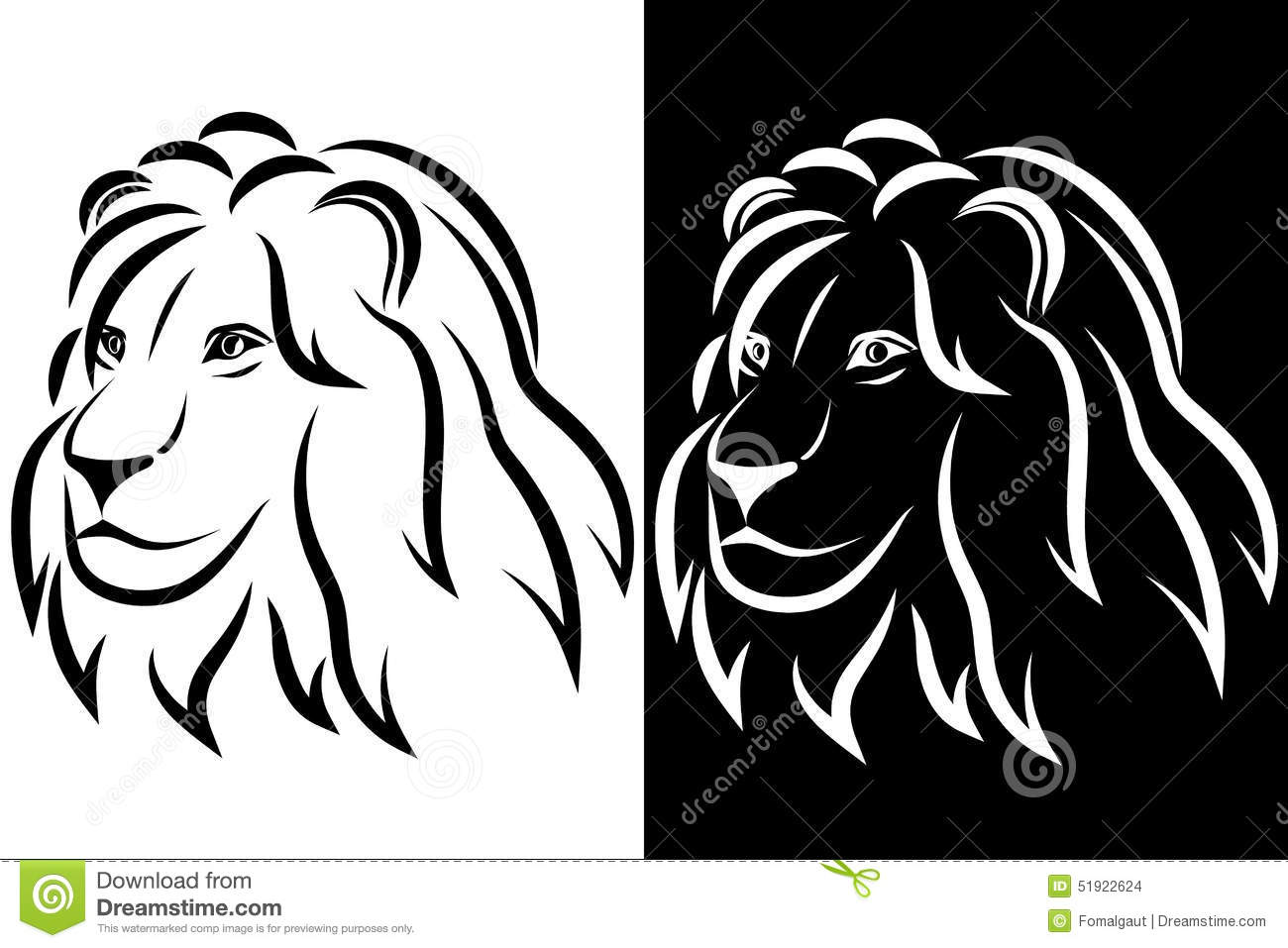 lion head black and white silhouette logo vector